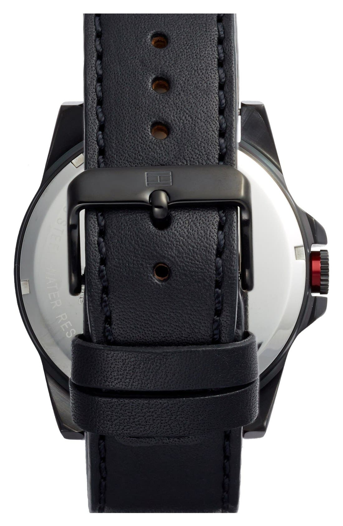 Alternate Image 2  - Tommy Hilfiger Round Leather Strap Watch, 46mm