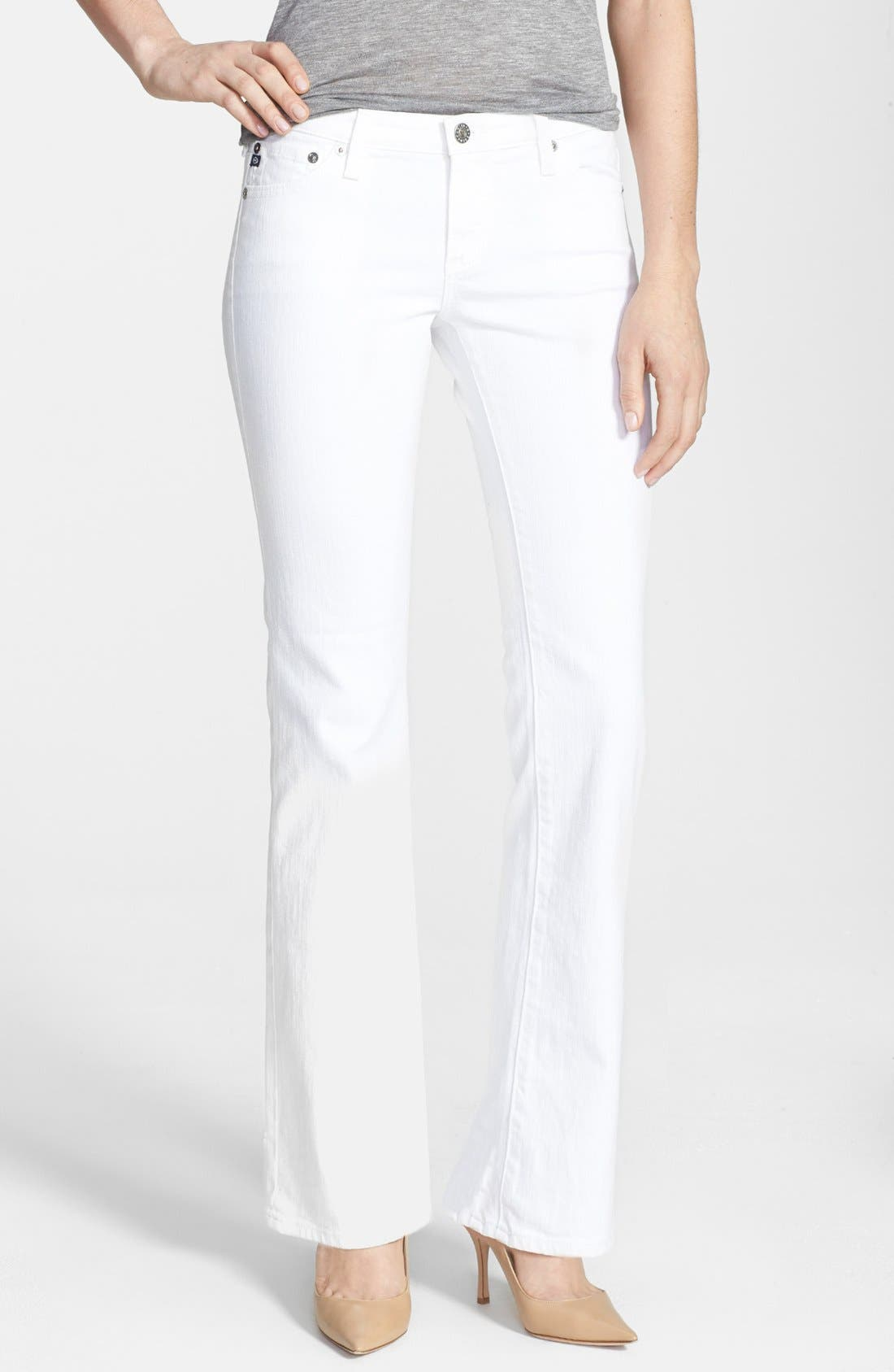 Alternate Image 1 Selected - AG 'Angelina' Bootcut Jeans (Petite) (White)