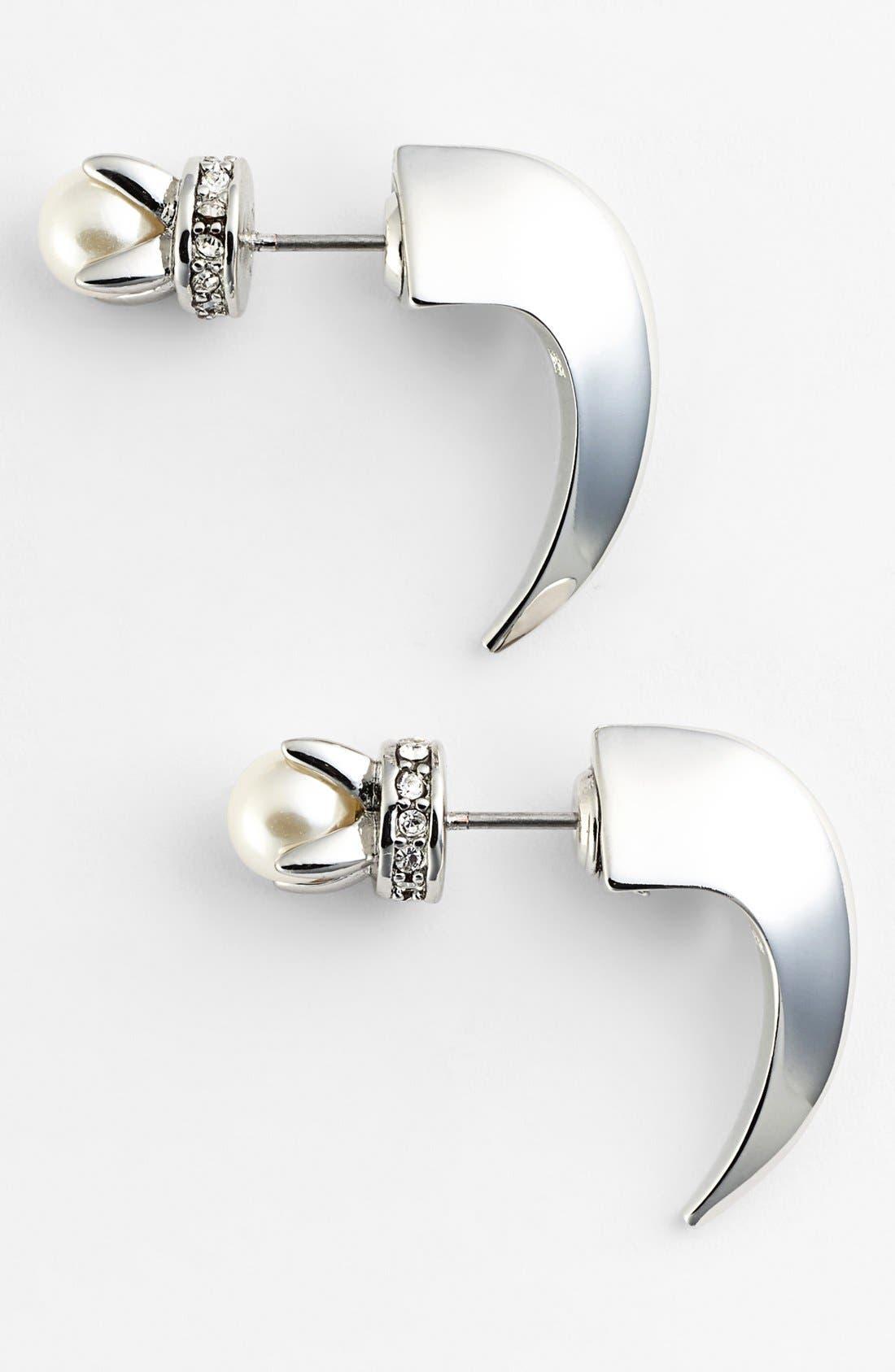 'Curbs' Reversible Hoop Earrings,                         Main,                         color, Silver/ White Pearl/ Clear