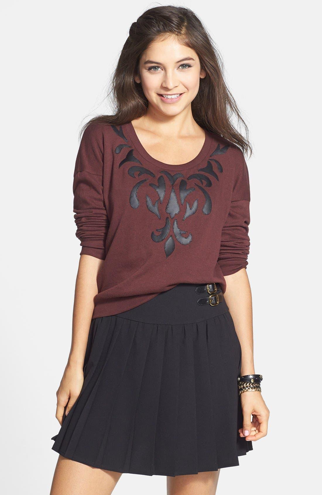 Main Image - Haute Society Buckle Detail Pleat Skirt (Juniors) (Online Only)