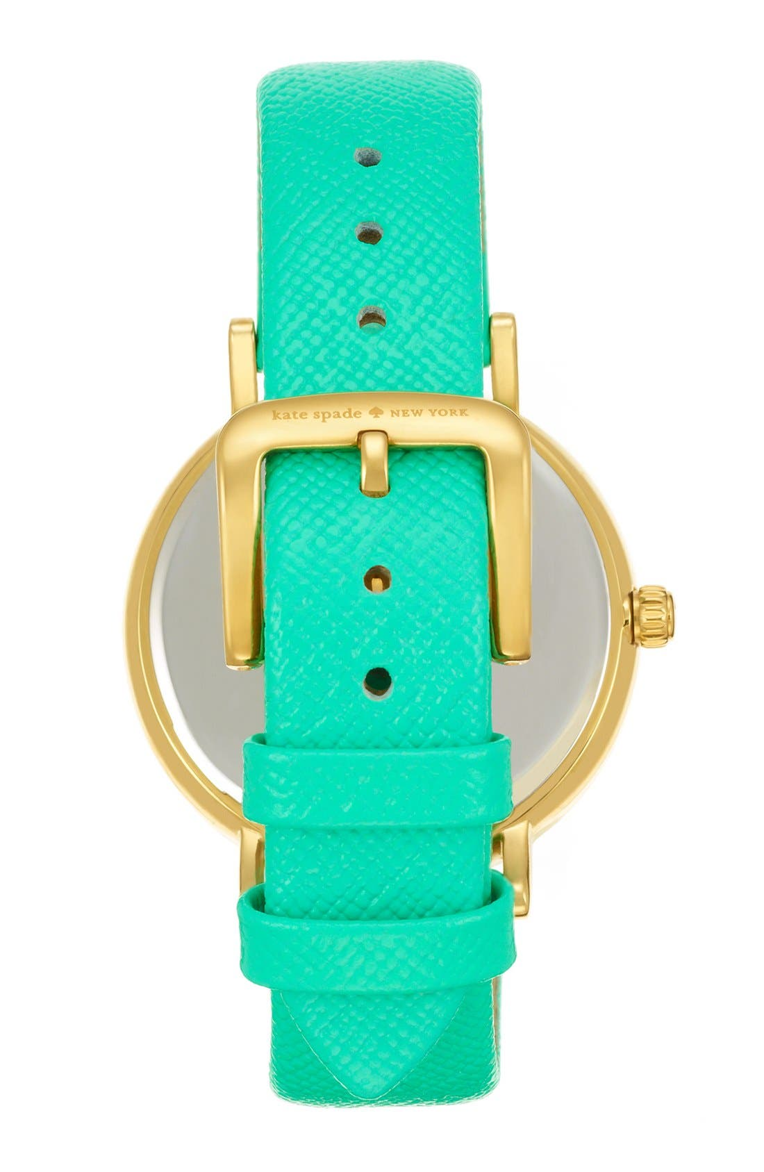 Alternate Image 2  - kate spade new york 'metro' enamel bezel leather strap watch, 38mm