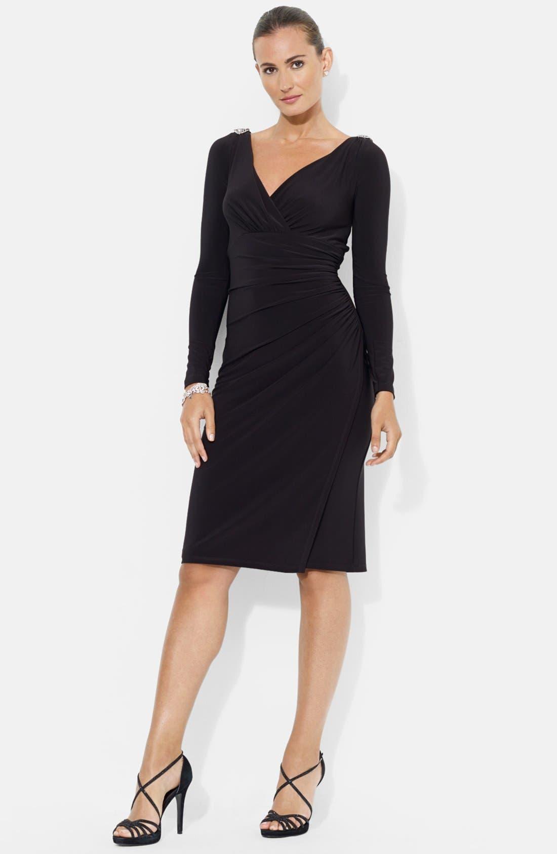Main Image - Lauren Ralph Lauren Embellished Shoulder Jersey Dress (Petite)