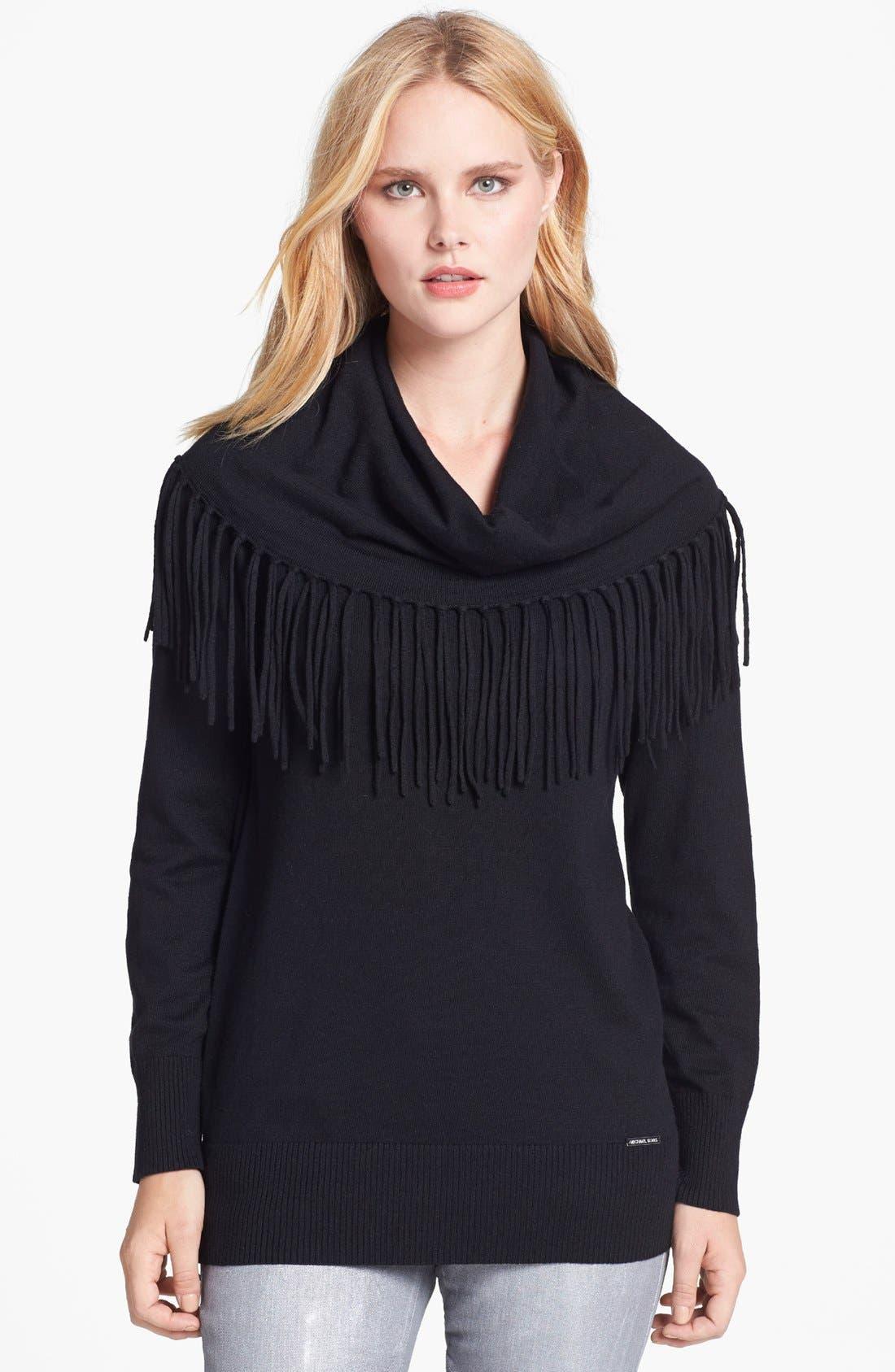 Main Image - MICHAEL Michael Kors Fringe Cowl Neck Sweater (Petite)