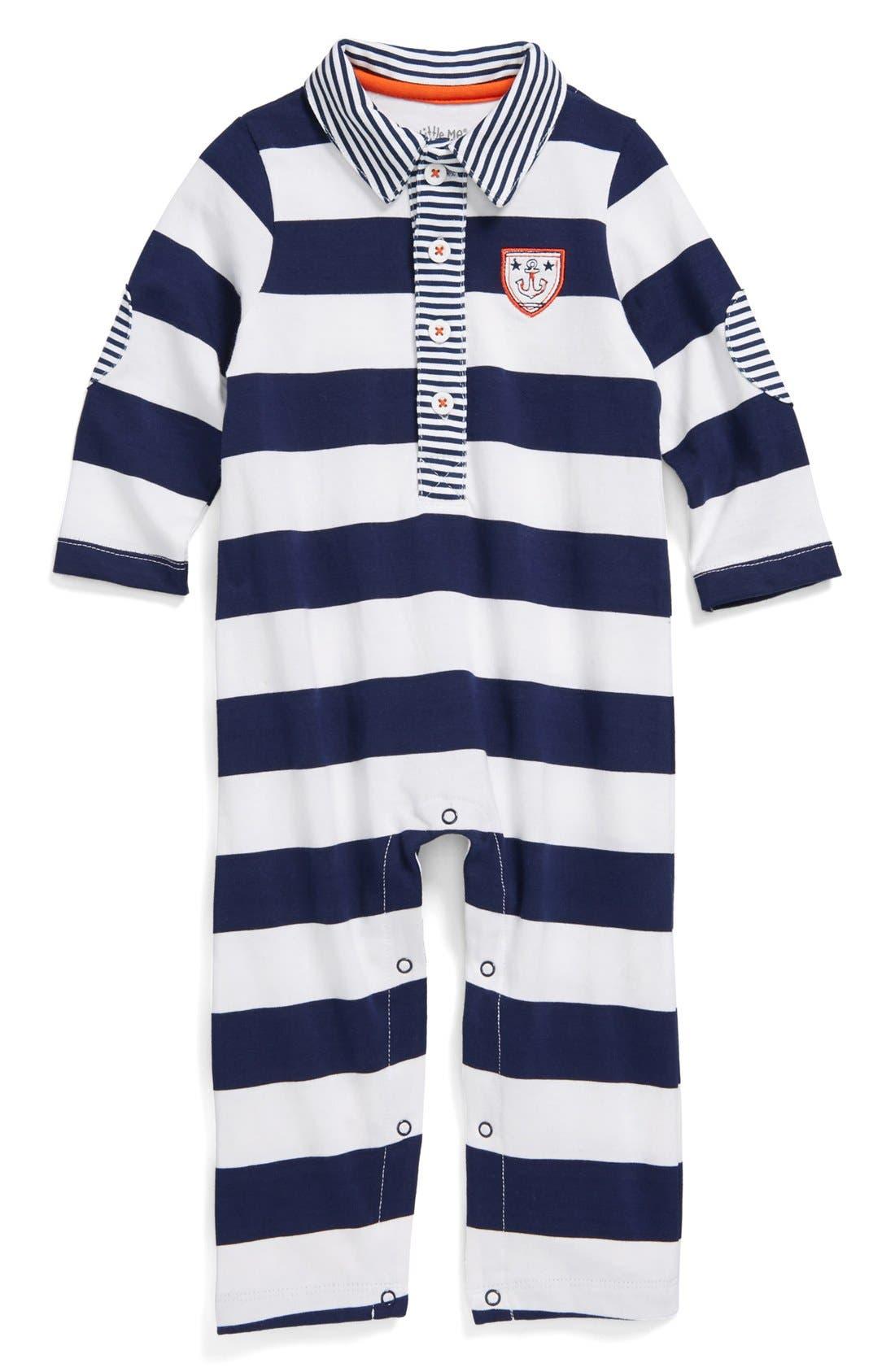 Alternate Image 1 Selected - Little Me 'Sailors' Stripe Romper (Baby Boys)
