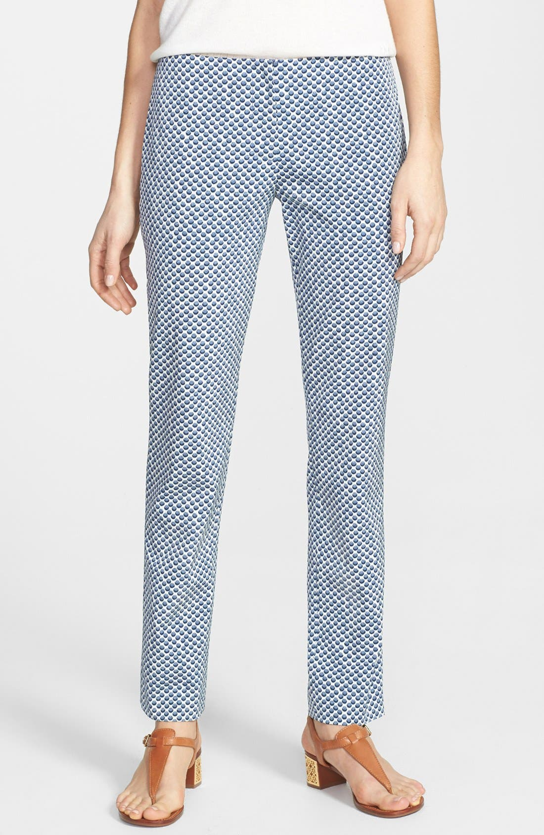 Main Image - Tory Burch 'Ruth' Dot Jacquard Ankle Pants