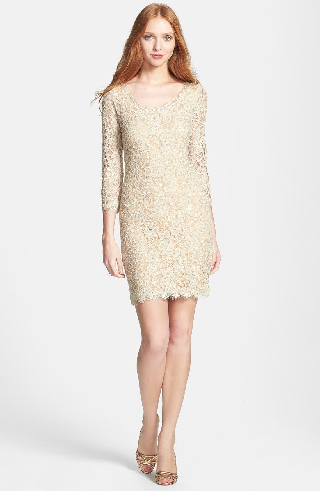 Alternate Image 1 Selected - Diane von Furstenberg 'Zarita' Lace Scoop Dress
