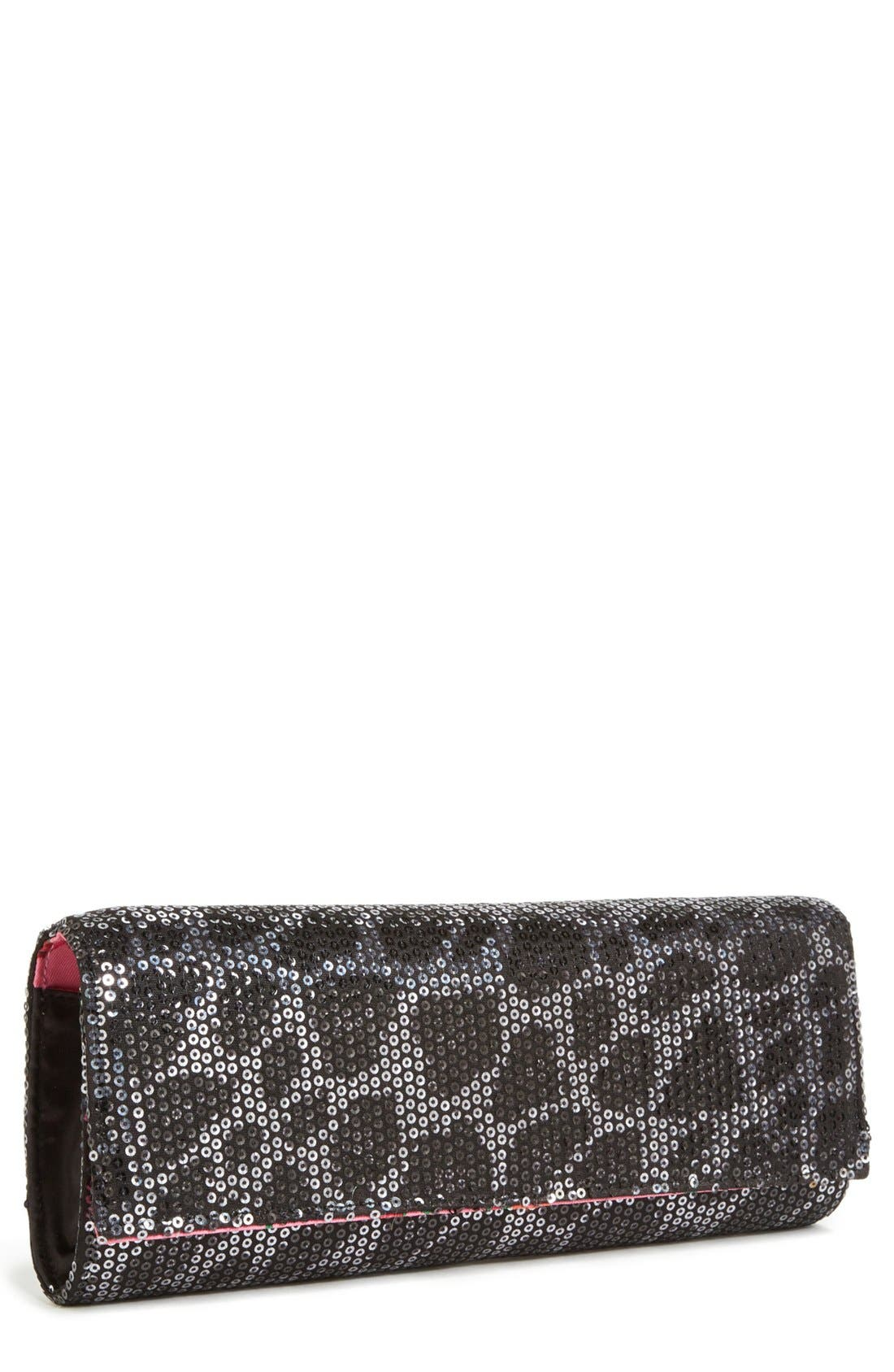 Main Image - Betsey Johnson Sequin Leopard Clutch
