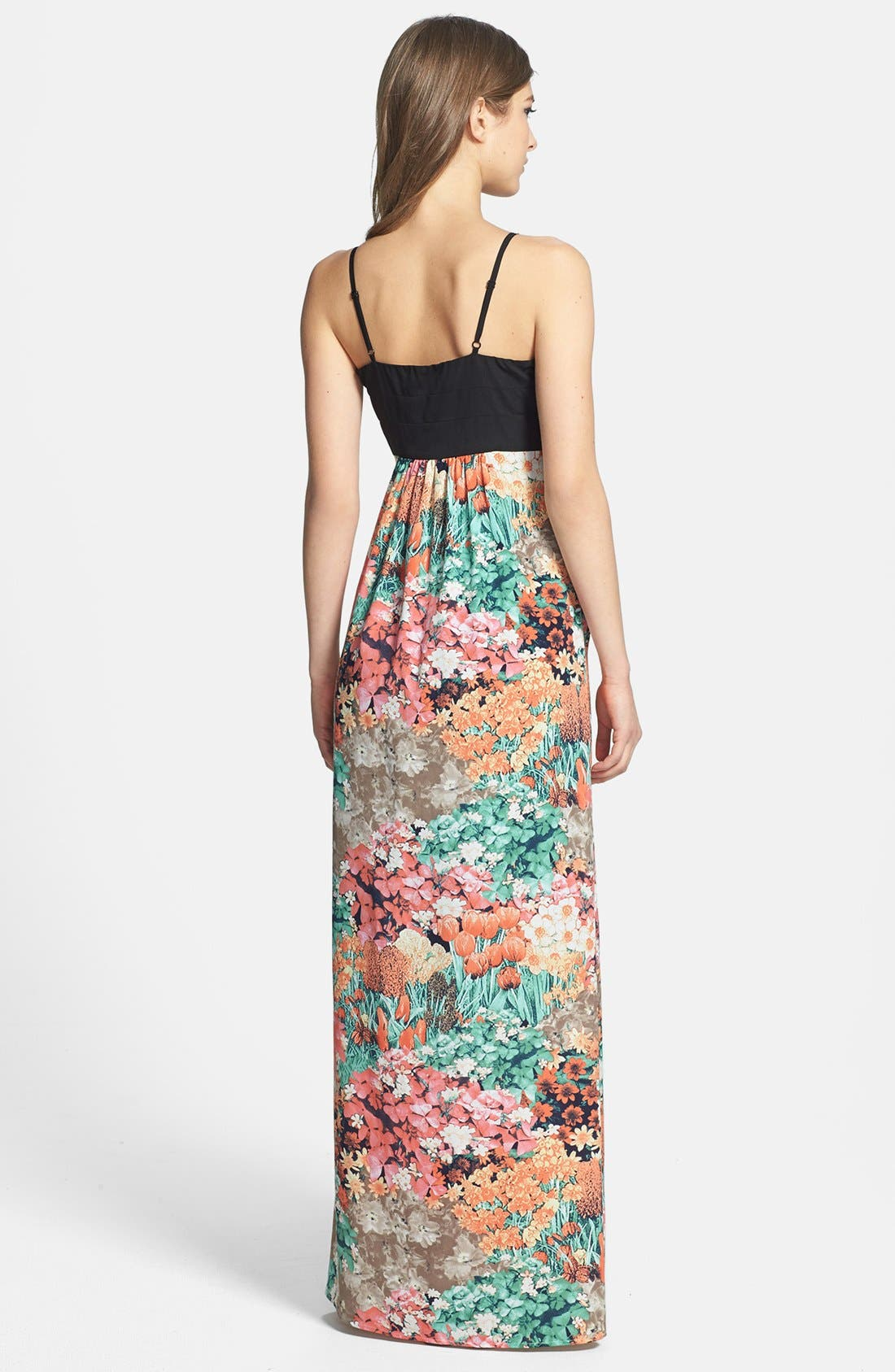 Alternate Image 2  - MM Couture Floral Print Skirt Maxi Dress