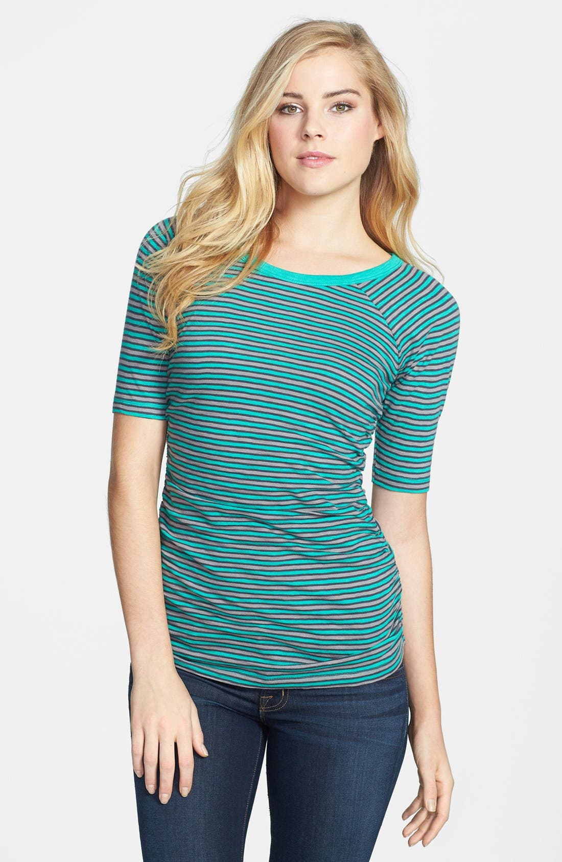 Alternate Image 1 Selected - Caslon® Elbow Sleeve Side Ruched Tee (Petite)