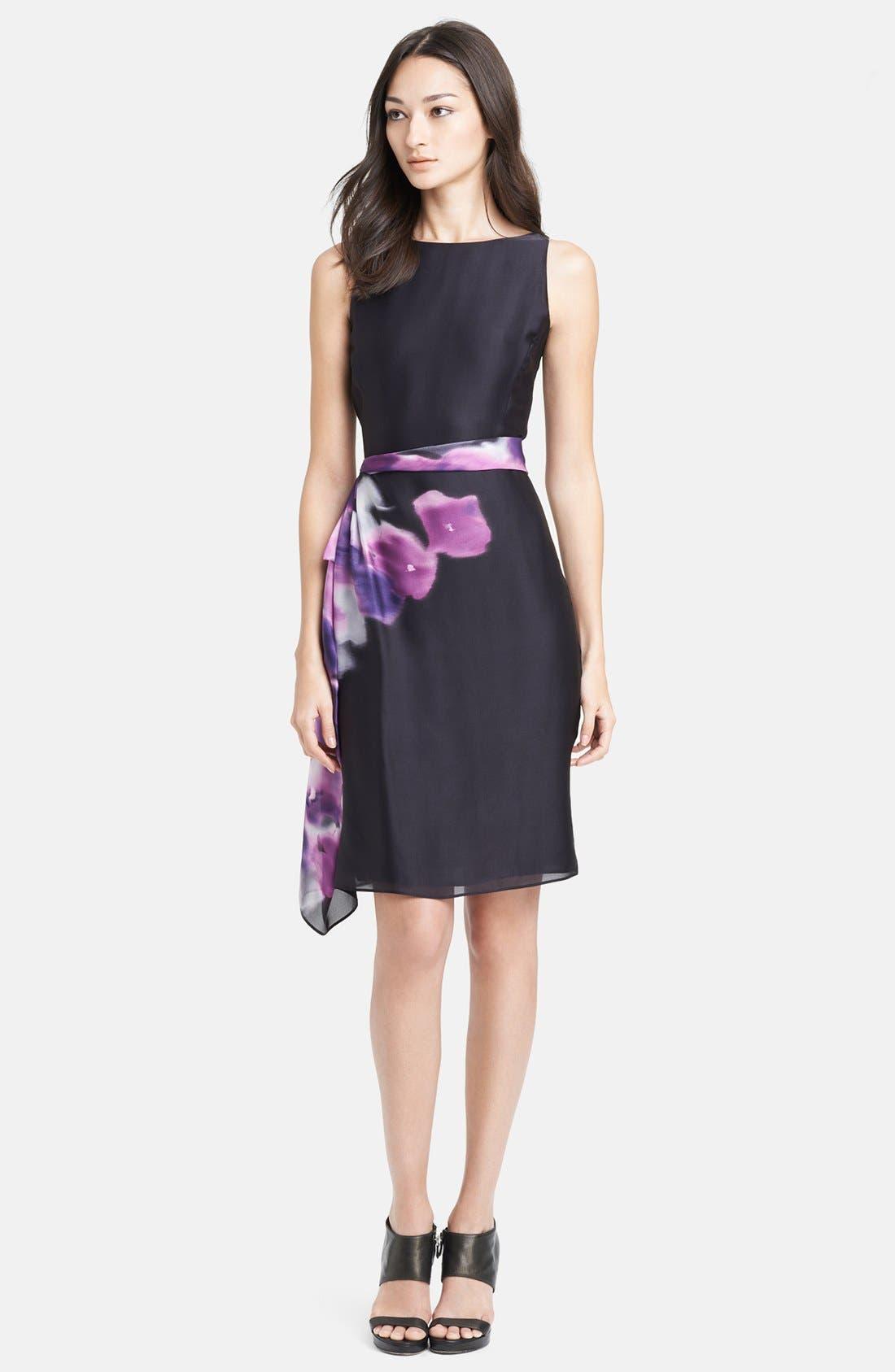 Main Image - Armani Collezioni Print Side Drape Silk Dress