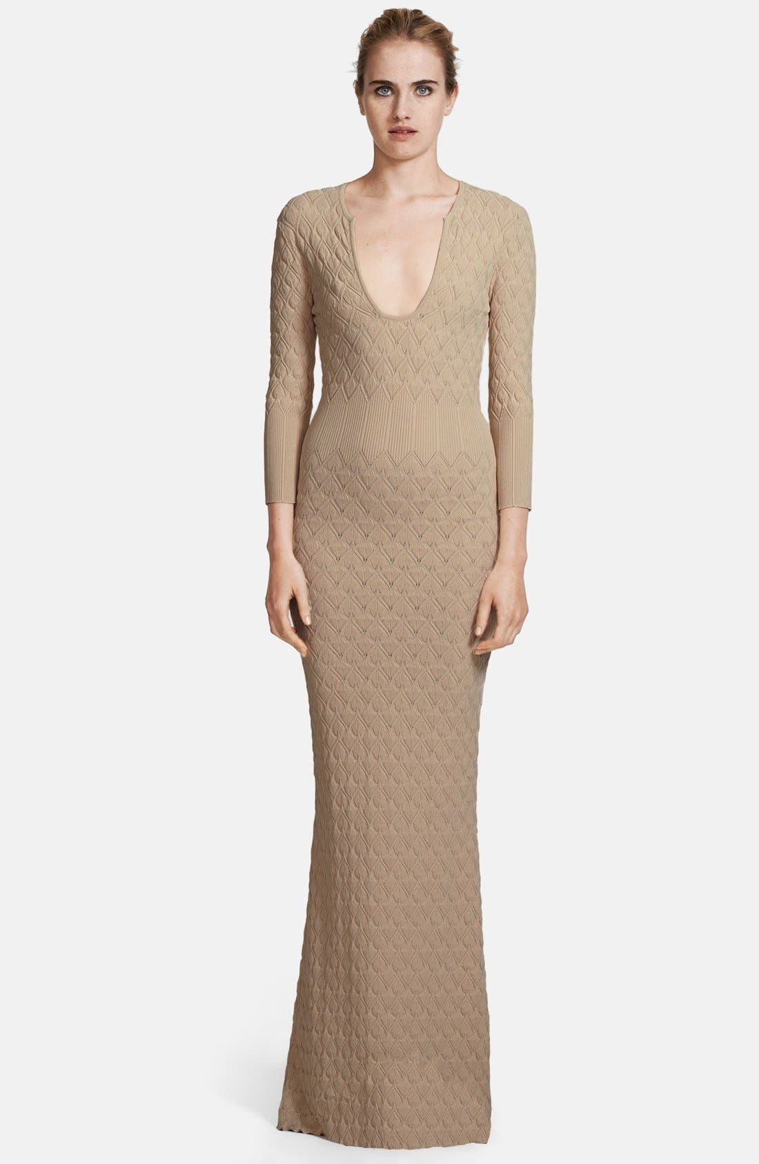 Alternate Image 1 Selected - Alexander McQueen Diamond Knit Gown