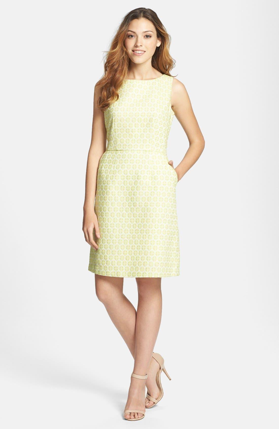 Alternate Image 1 Selected - Halogen® Cutout Back Jacquard Dress (Regular & Petite)
