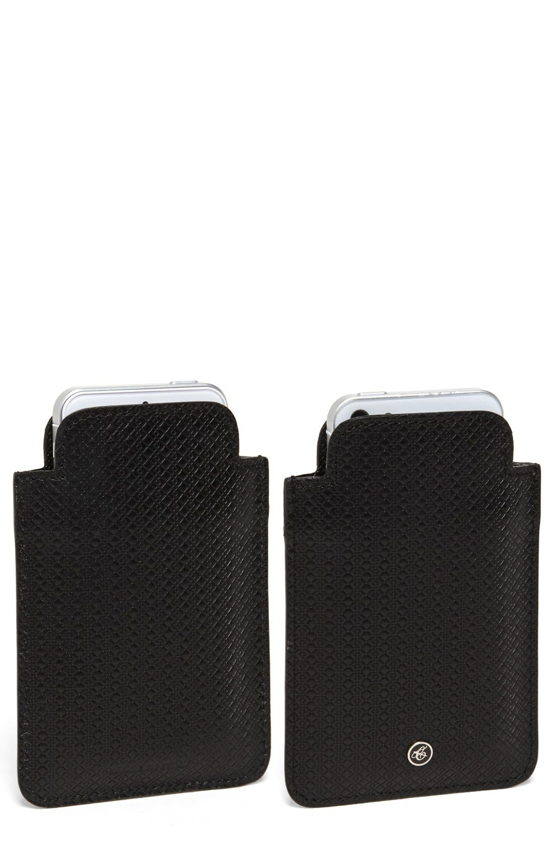 Leather Phone Sleeve,                             Main thumbnail 1, color,                             Black
