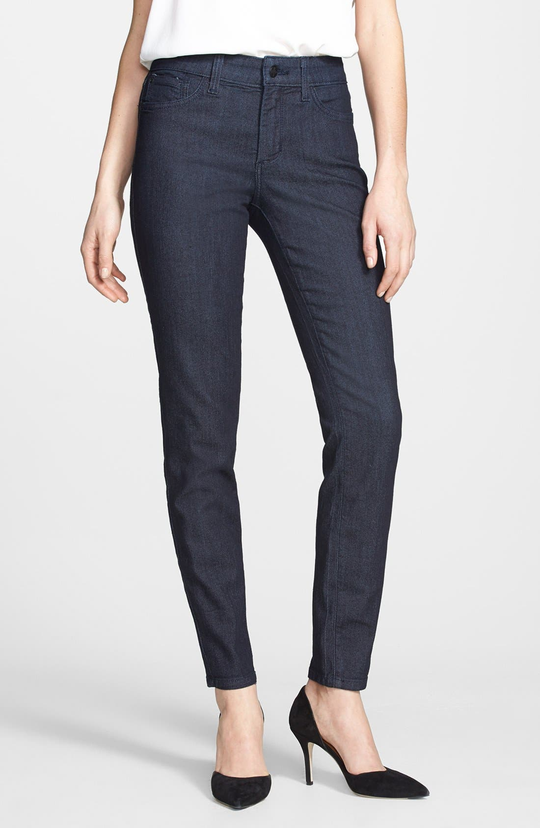 Alternate Image 1 Selected - NYDJ 'Ami' Tonal Stitch Stretch Skinny Jeans (Dark Enzyme) (Regular & Petite)