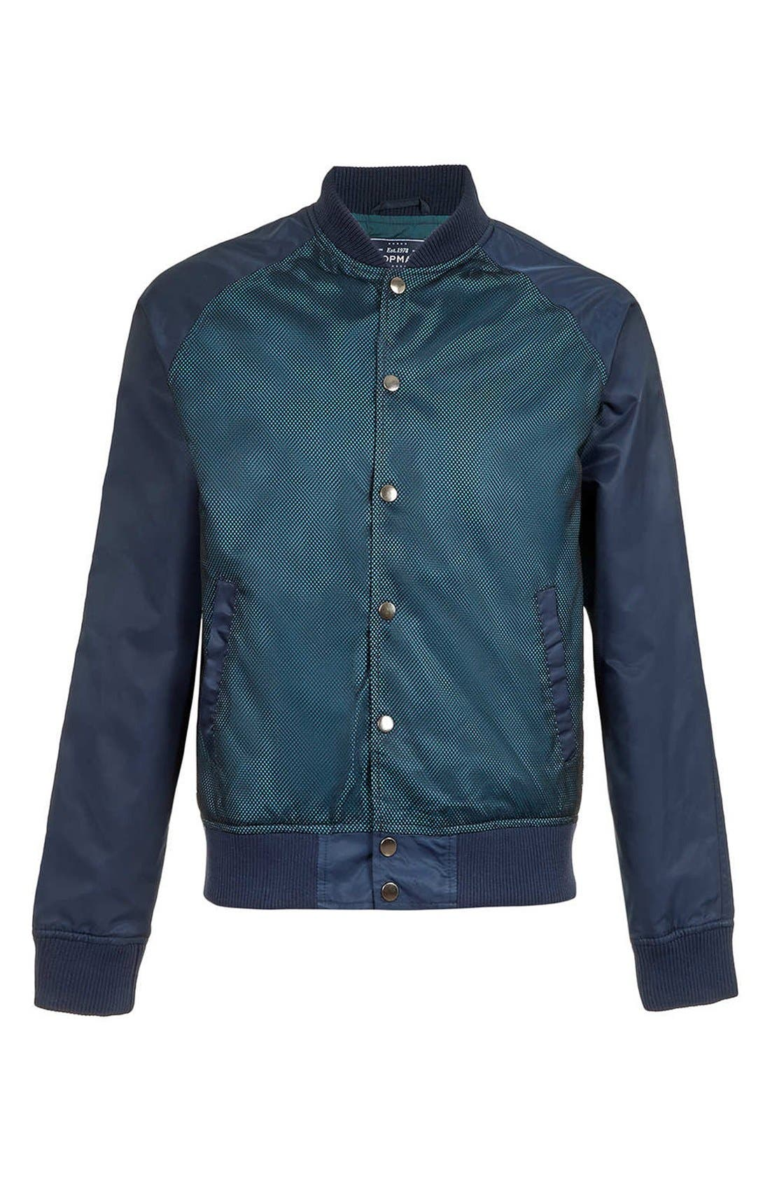 Alternate Image 1 Selected - Topman Mesh Front Bomber Jacket