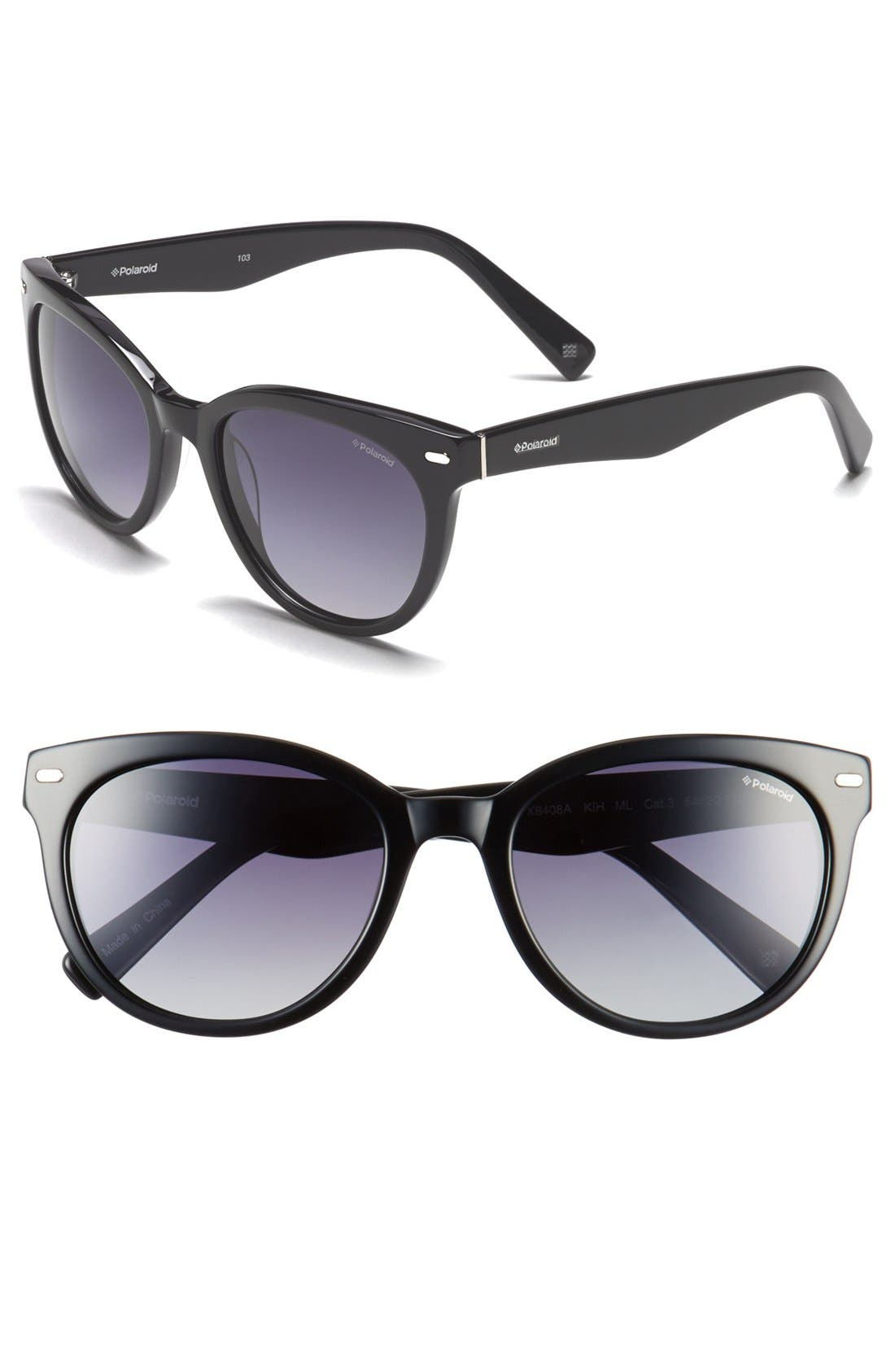 Eyewear 54mm Retro Polarized Sunglasses,                         Main,                         color, Black