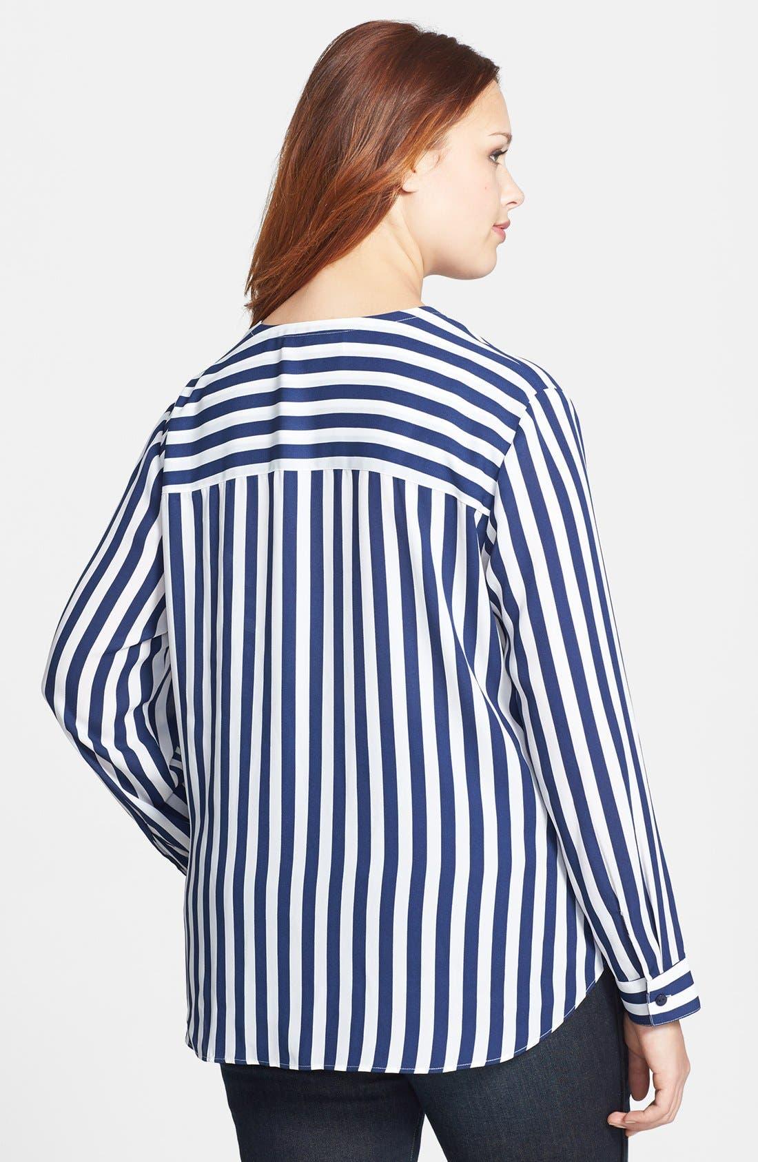 Alternate Image 2  - Sejour Striped Faux Wrap Blouse (Plus Size)