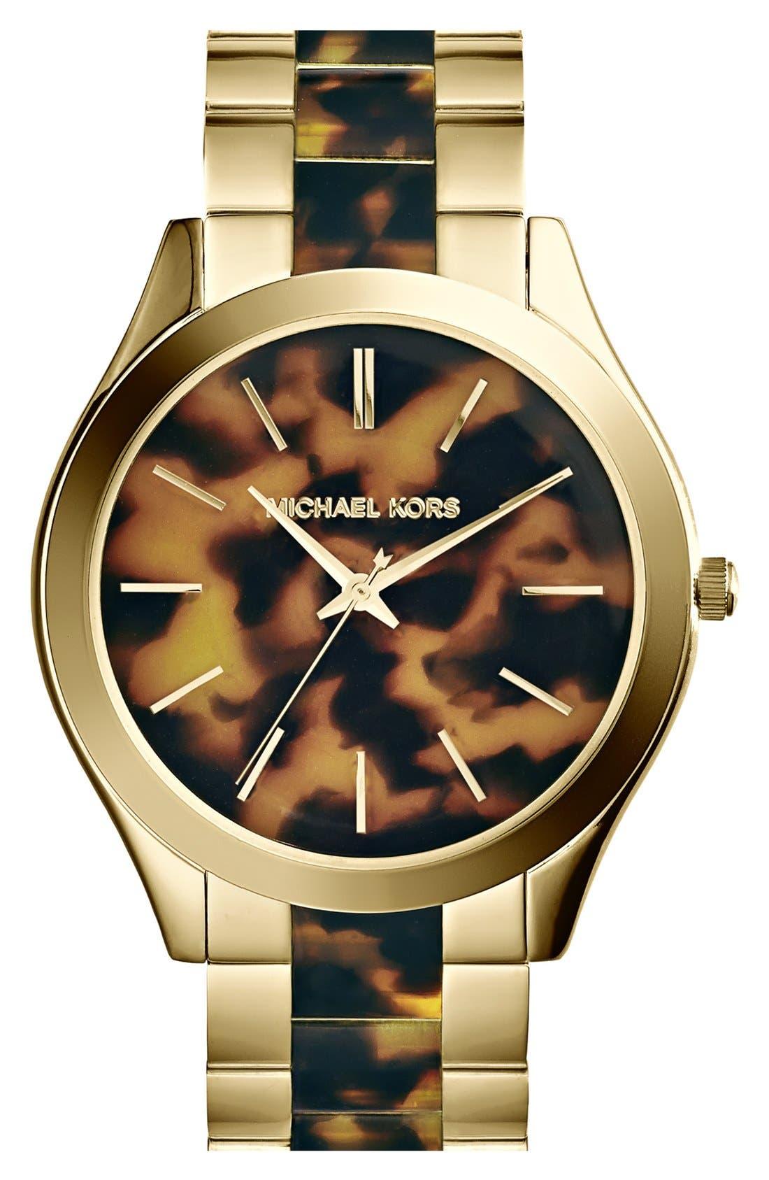Michael Kors 'Slim Runway' Round Bracelet Watch, 42mm,                         Main,                         color, Tortoise/ Gold