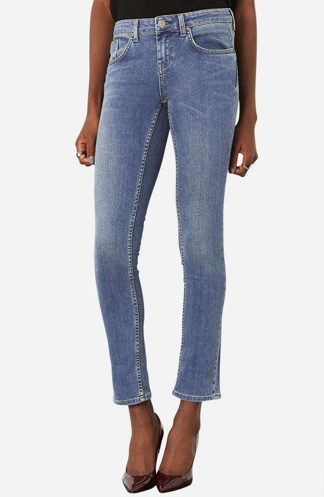 Main Image - Topshop Moto 'Vintage Baxter' Skinny Jeans (Mid Stone) (Short)