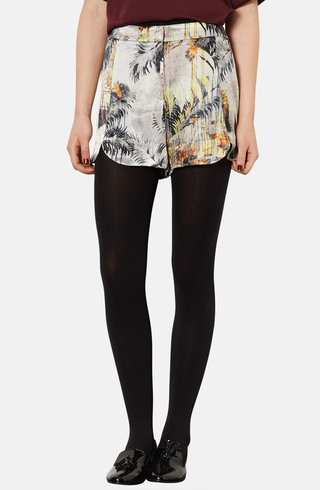 Alternate Image 1 Selected - Topshop Palm Print Woven Shorts