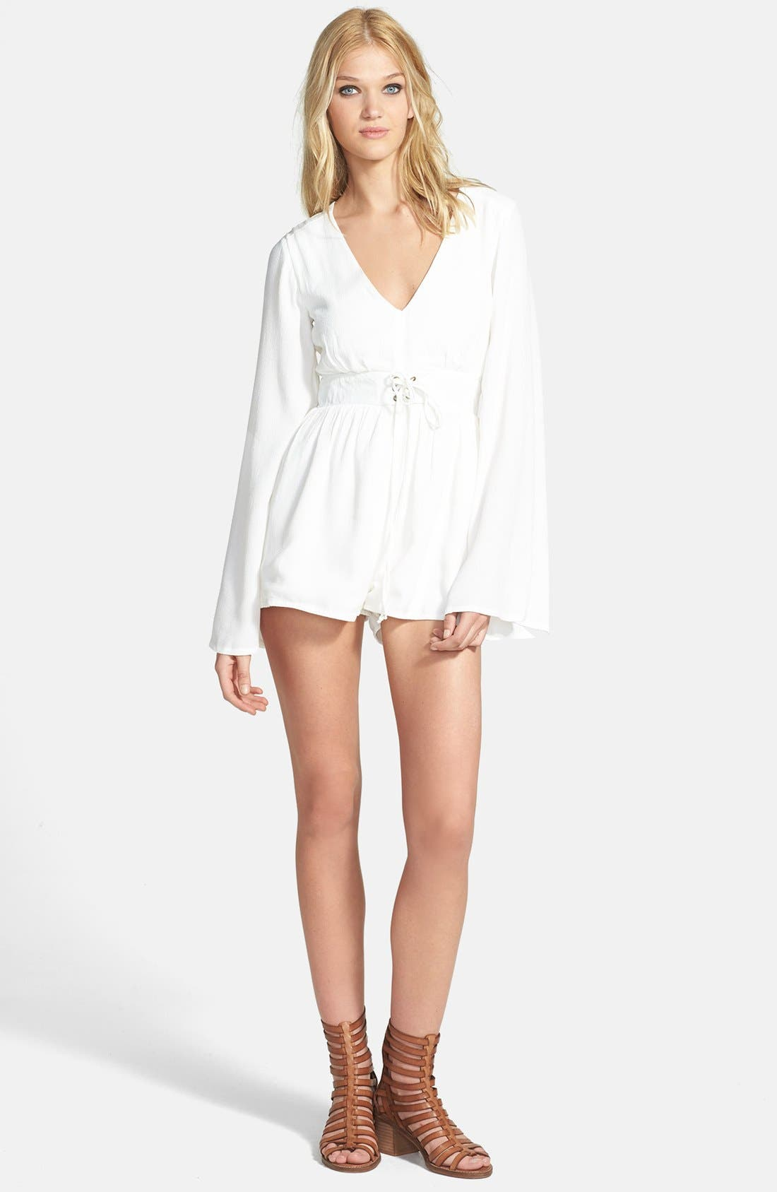 Main Image - MINKPINK 'Follow Me to Heaven' Bell Sleeve Crepe Romper