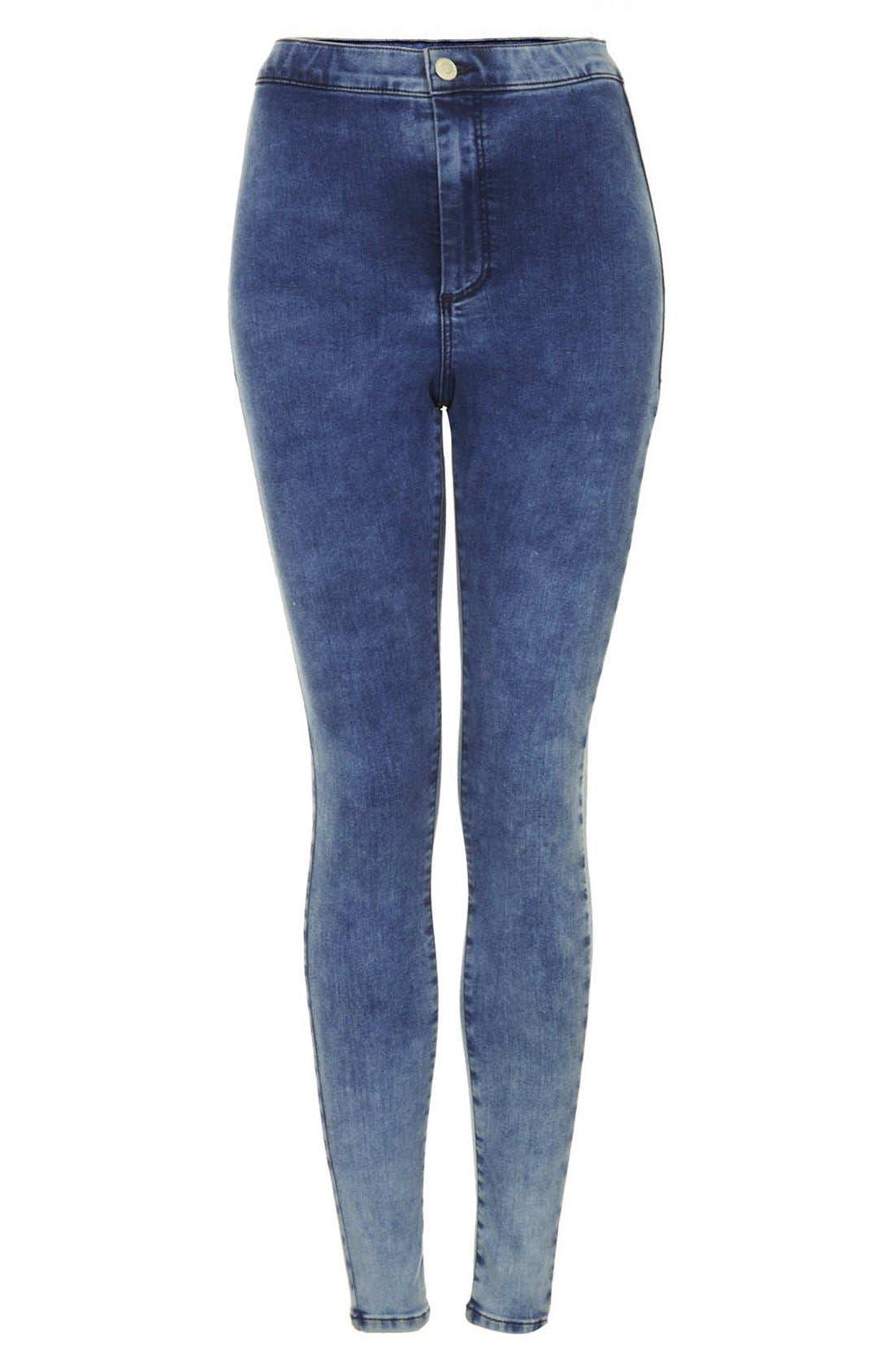 Alternate Image 3  - Topshop Moto 'Joni' High Rise Mottled Skinny Jeans (Short) (Bleach Stone)