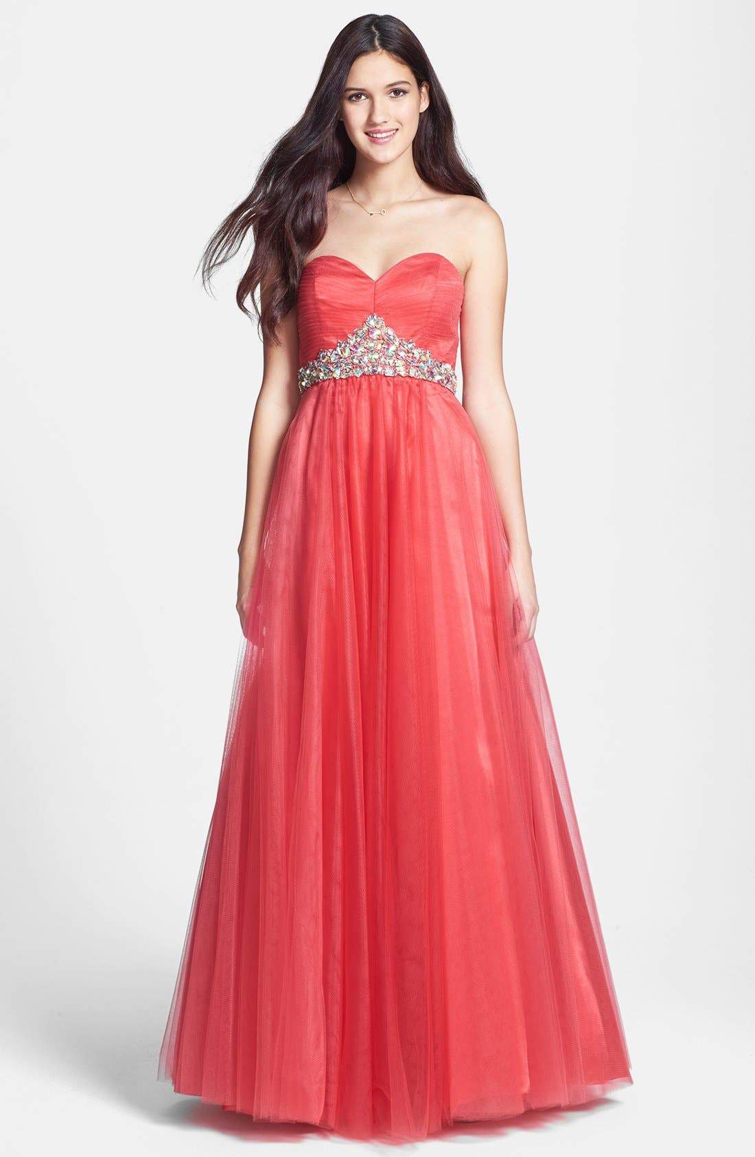 Main Image - Sean Collection Embellished Strapless Tulle Ball Gown