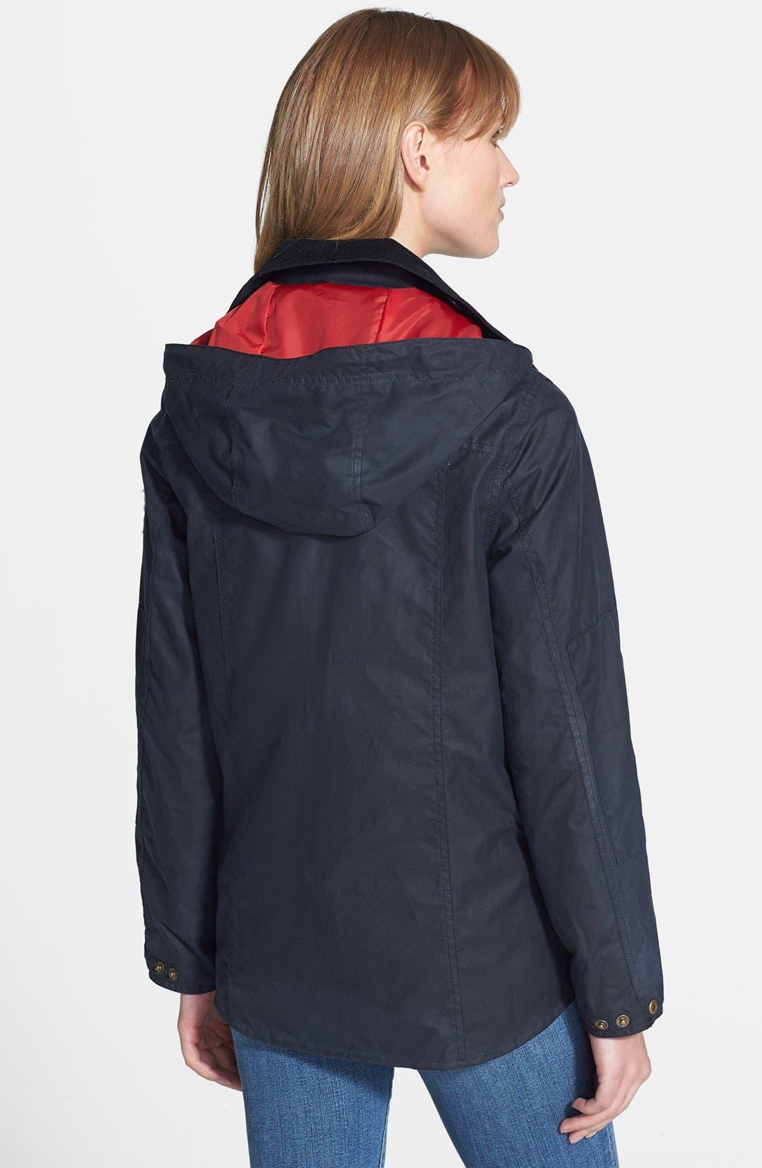 Alternate Image 2  - Barbour 'Shore' Hooded Waxed Cotton Marine Jacket