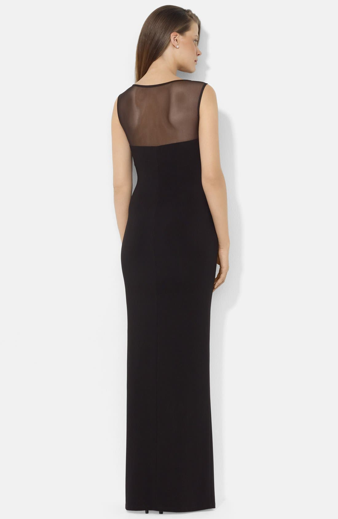 Alternate Image 2  - Lauren Ralph Lauren Illusion Yoke Jersey Gown