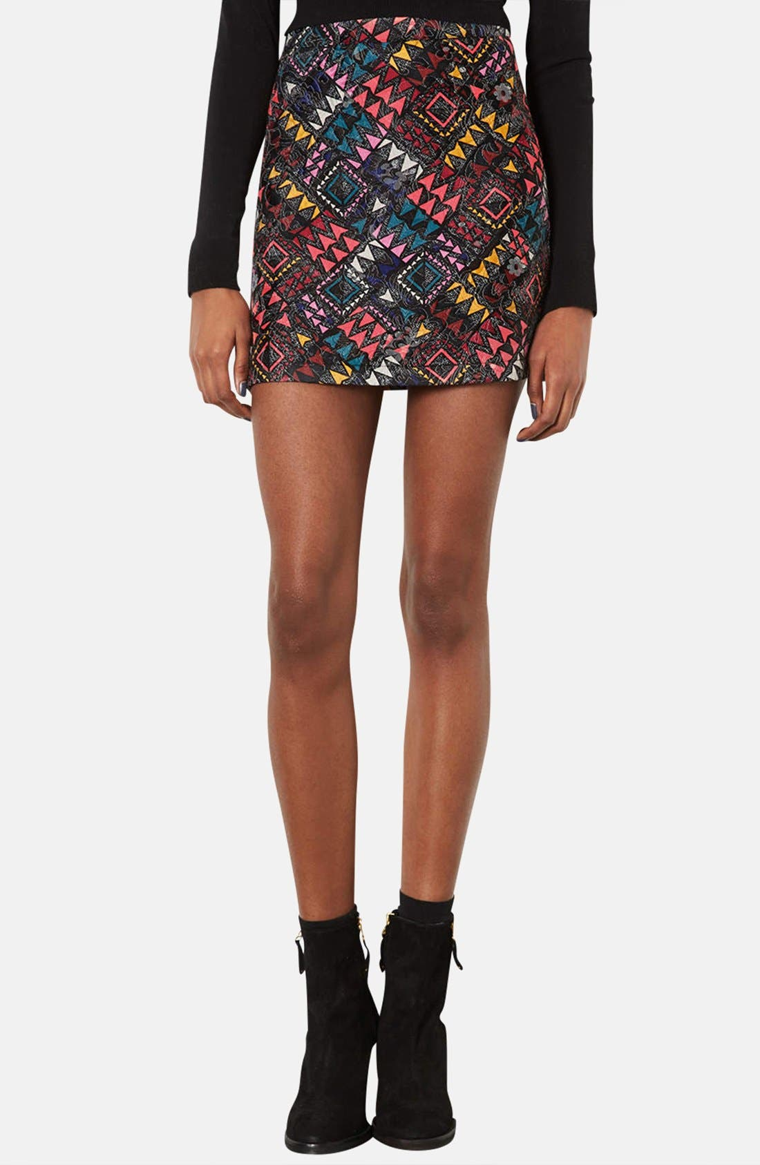 Main Image - Topshop Geo Print Quilted Miniskirt