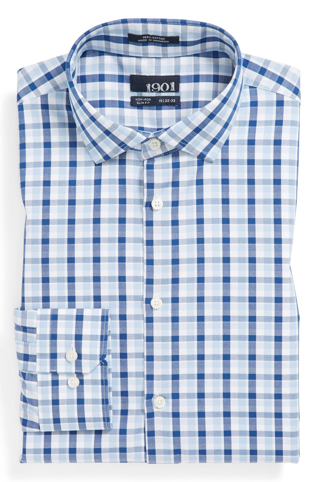 Alternate Image 1 Selected - 1901 Slim Fit Non-Iron Check Dress Shirt