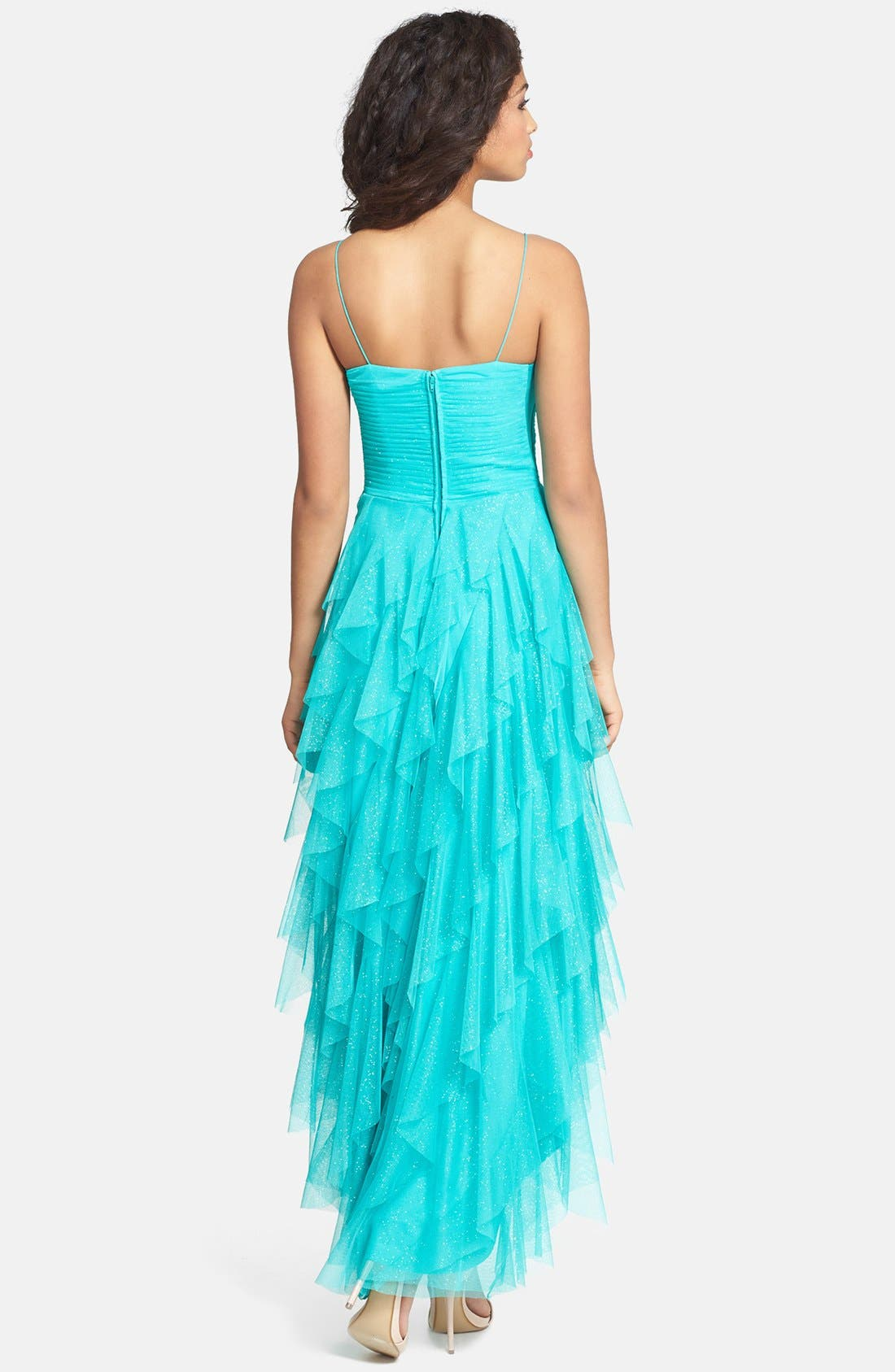 Alternate Image 2  - Hailey Logan Glitter Ruffle High/Low Dress (Juniors) (Online Only)