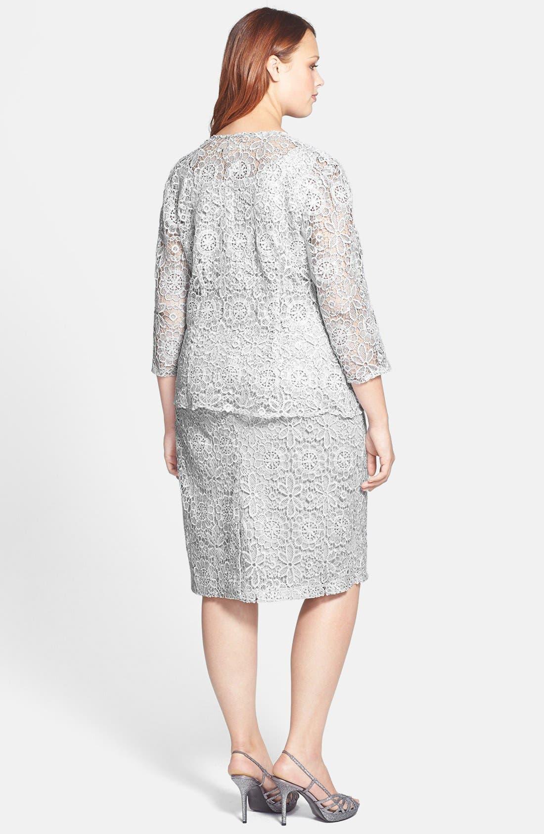 Alternate Image 2  - Alex Evenings Sequin Lace Dress & Jacket (Plus Size)