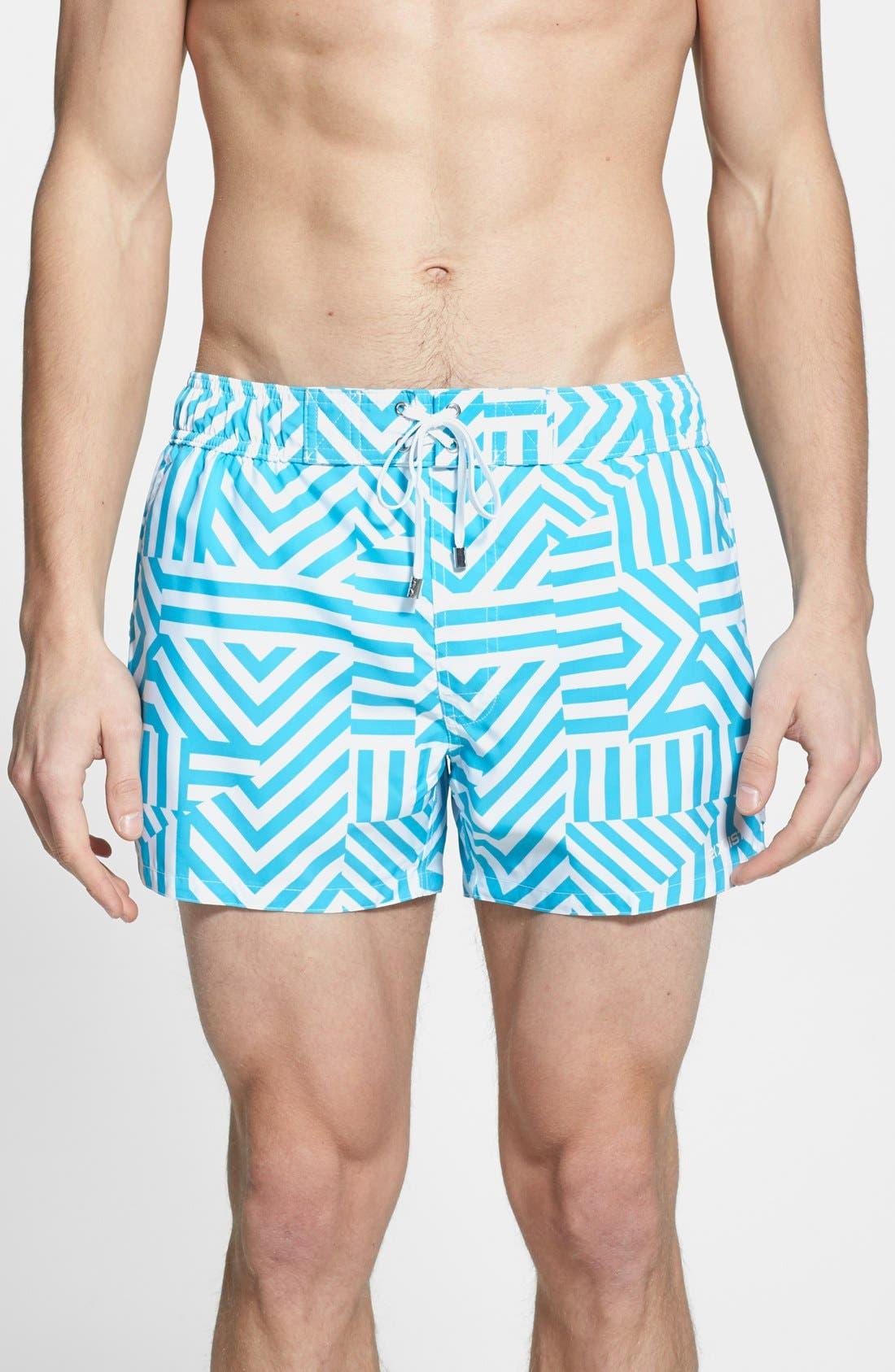 Main Image - 2(x)ist 'Ibiza' Block Stripe Swim Trunks
