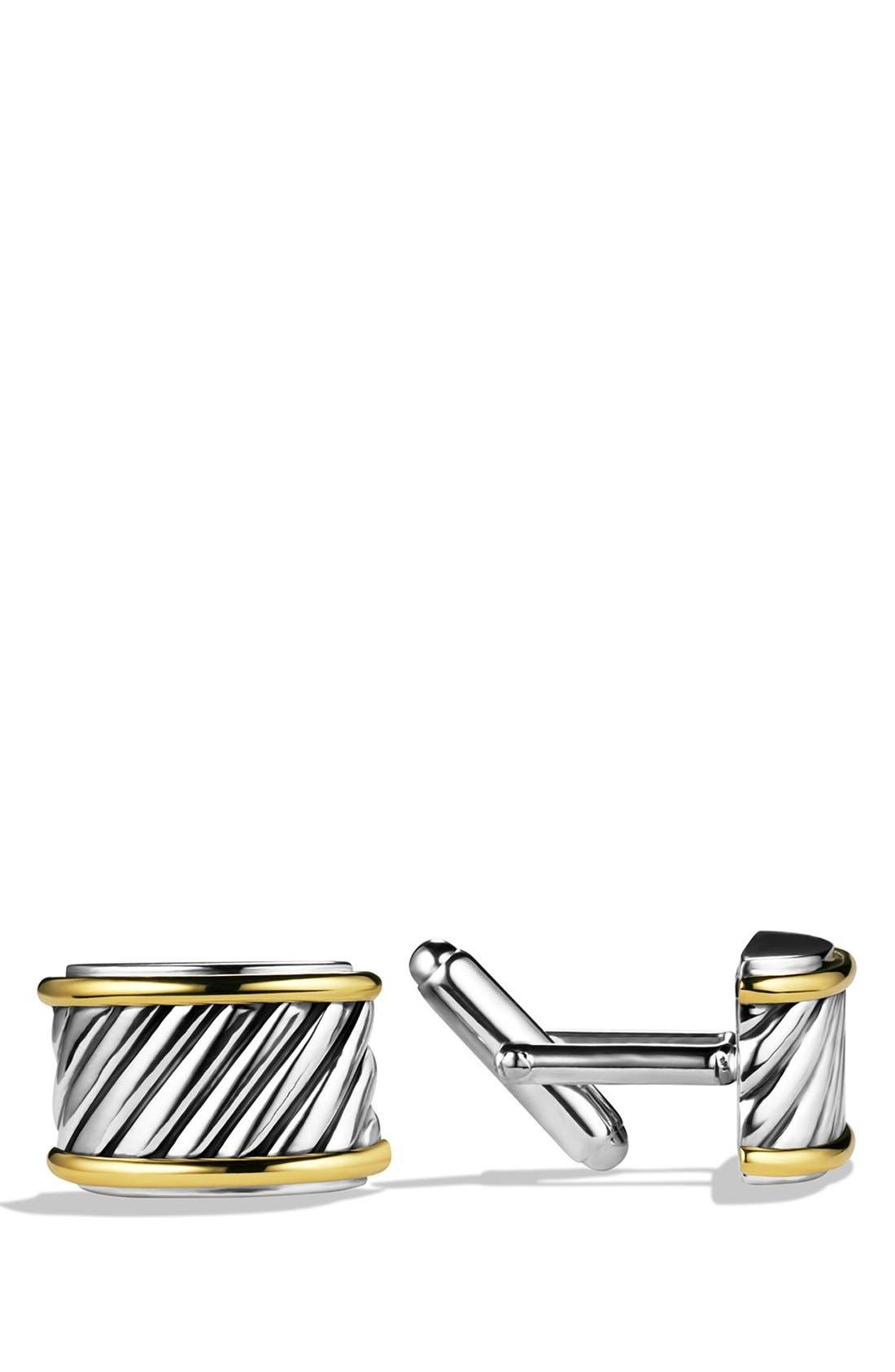 David Yurman 'Cable' Cigar Band Cuff Links with Gold