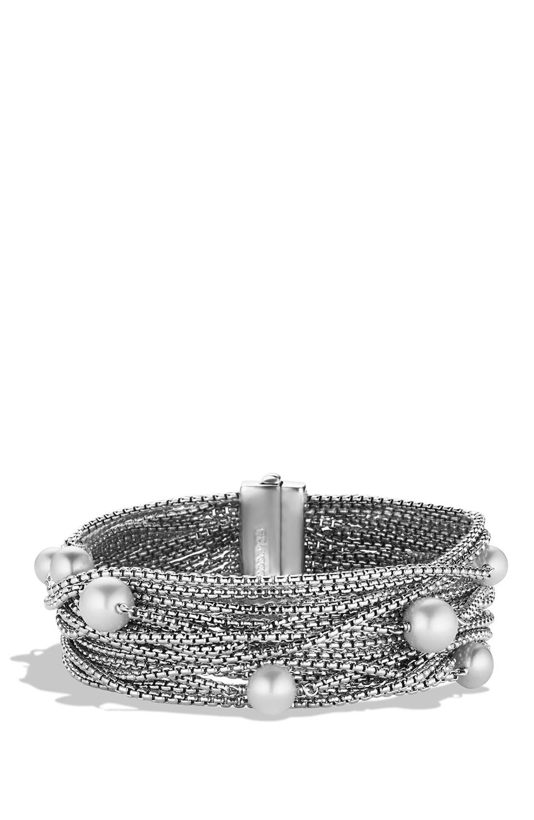 Sixteen-Row Chain Bracelet with Pearls,                         Main,                         color, Pearl
