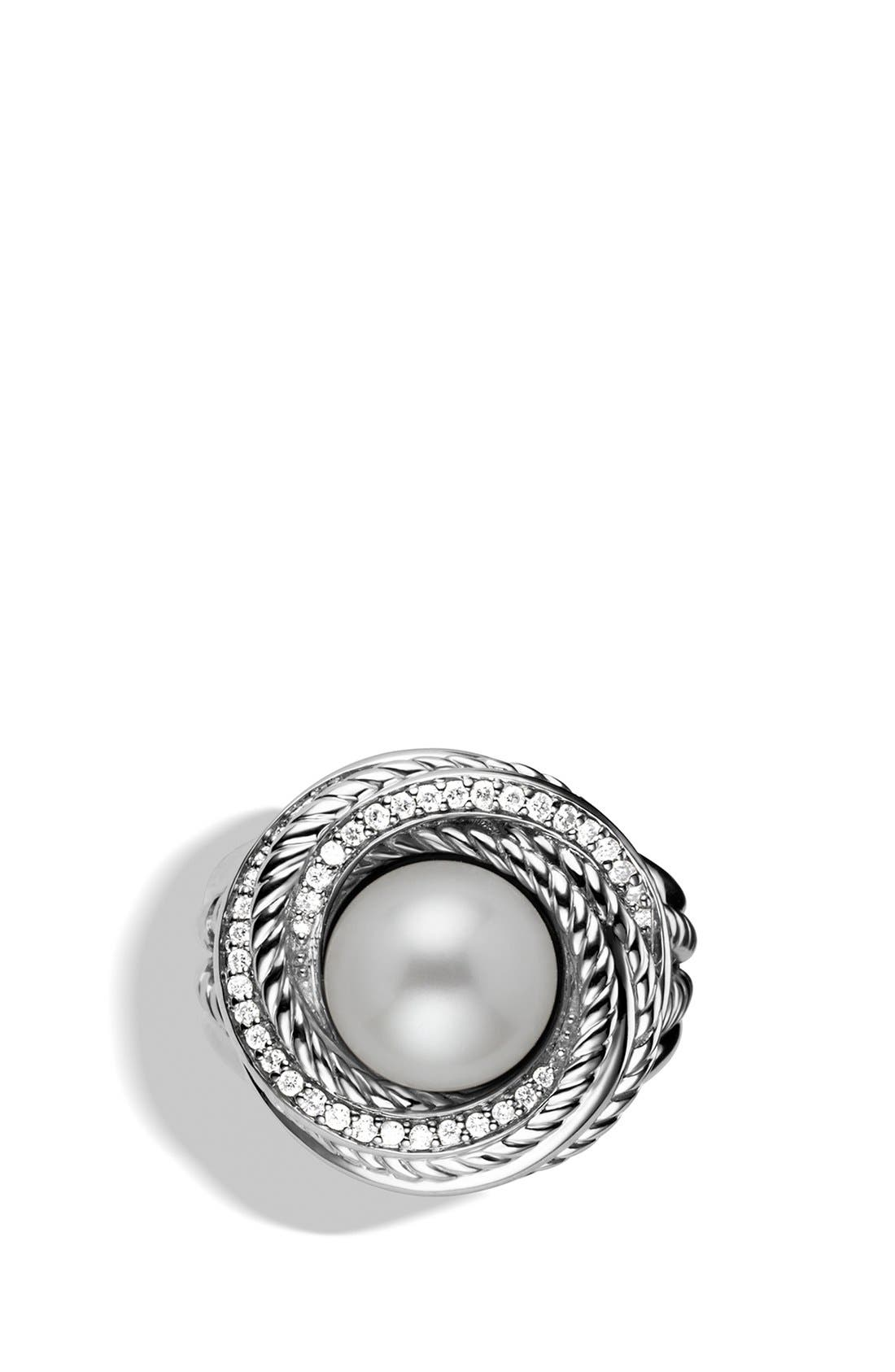 'Pearl Crossover' Ring with Diamonds,                             Alternate thumbnail 3, color,                             Pearl