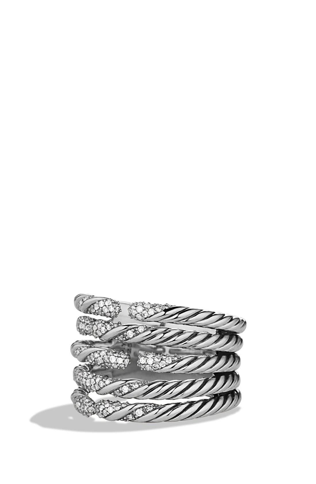 David Yurman 'Willow' Five-Row Ring with Diamonds