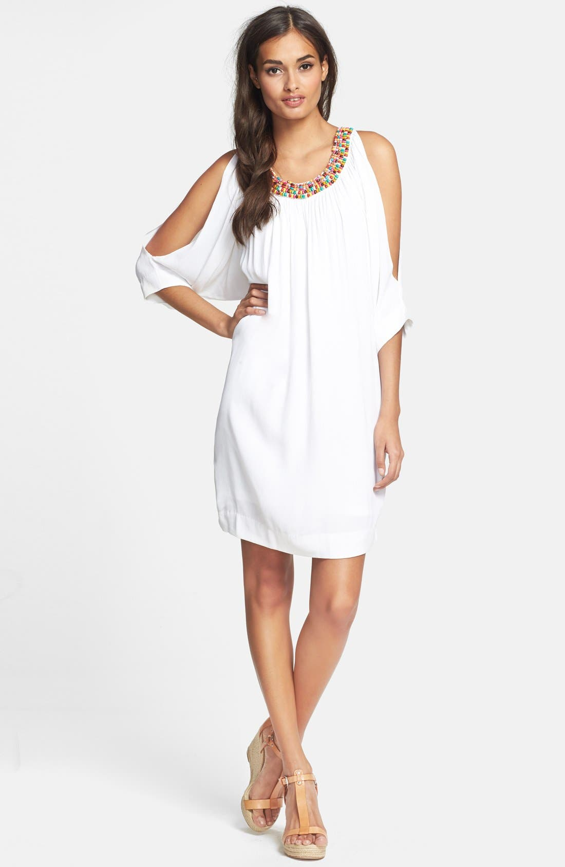 Alternate Image 3  - Nicole Miller Embellished Split Sleeve Crepe Dress