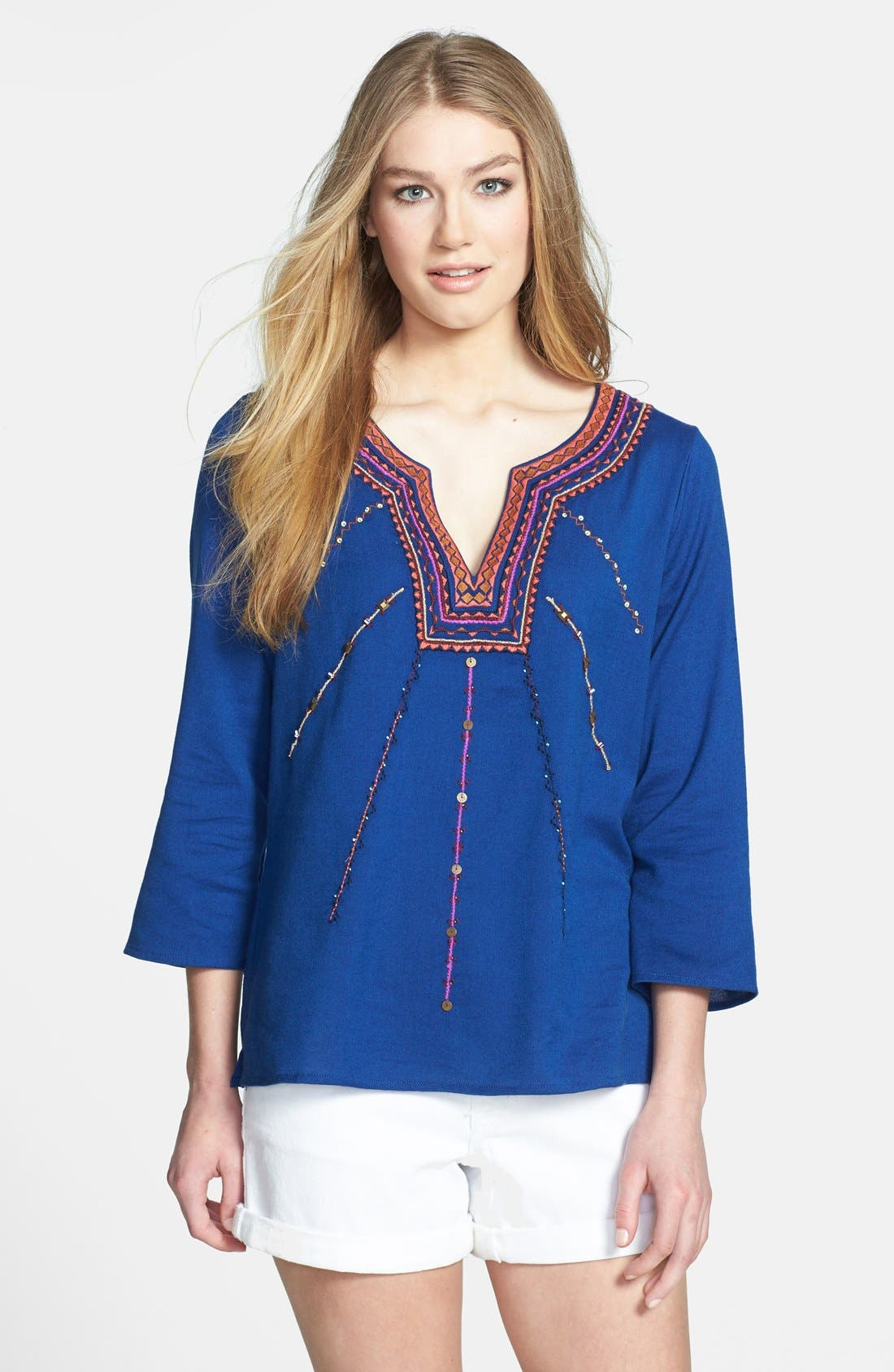 Alternate Image 1 Selected - Lucky Brand 'Sodalite' Embroidered Blouse