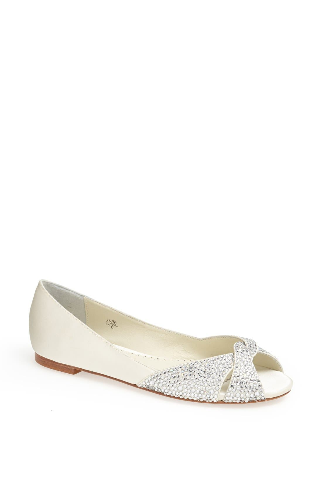 'Andie' Crystal Embellished Peep Toe Flat,                             Main thumbnail 1, color,                             Ivory