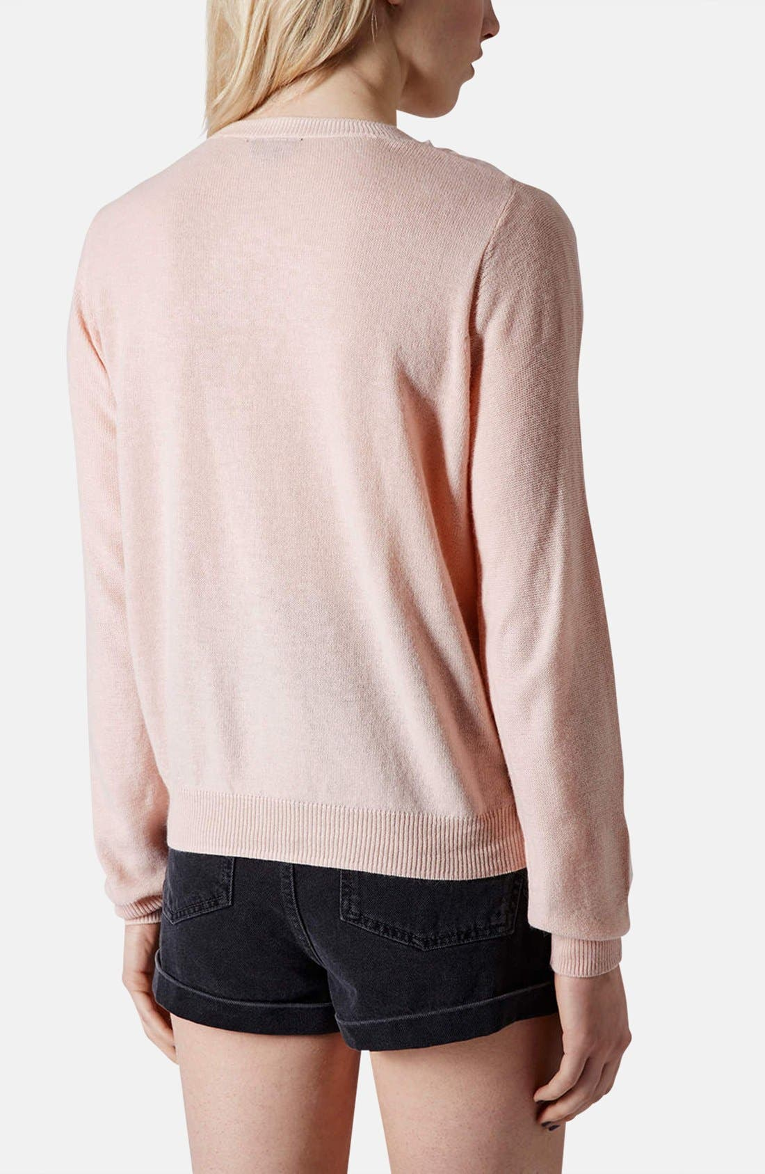 Alternate Image 2  - Topshop Organza Overlay Knit Sweater