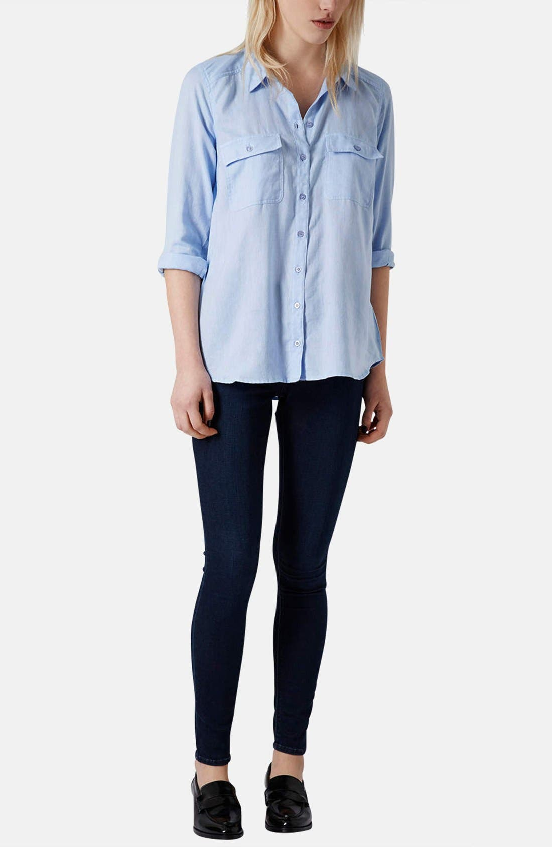 Alternate Image 4  - Topshop Chambray Utility Shirt
