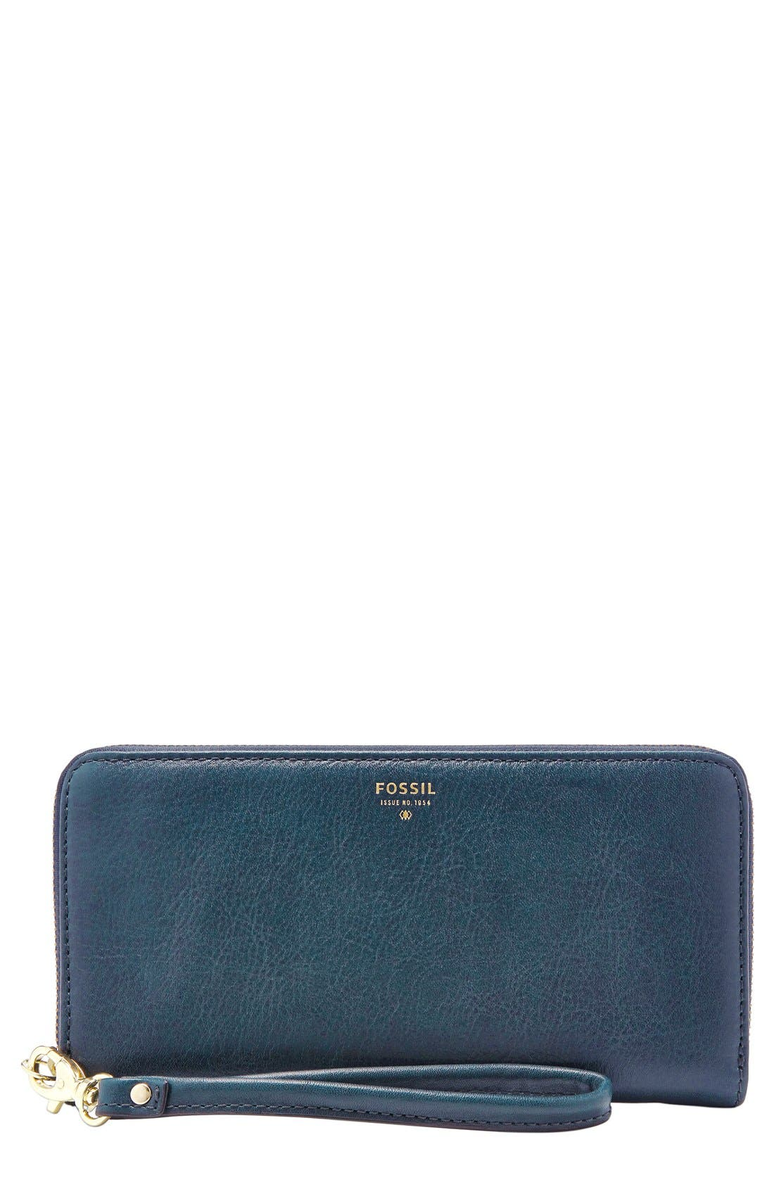 Main Image - Fossil 'Sydney' Zip Clutch Wallet
