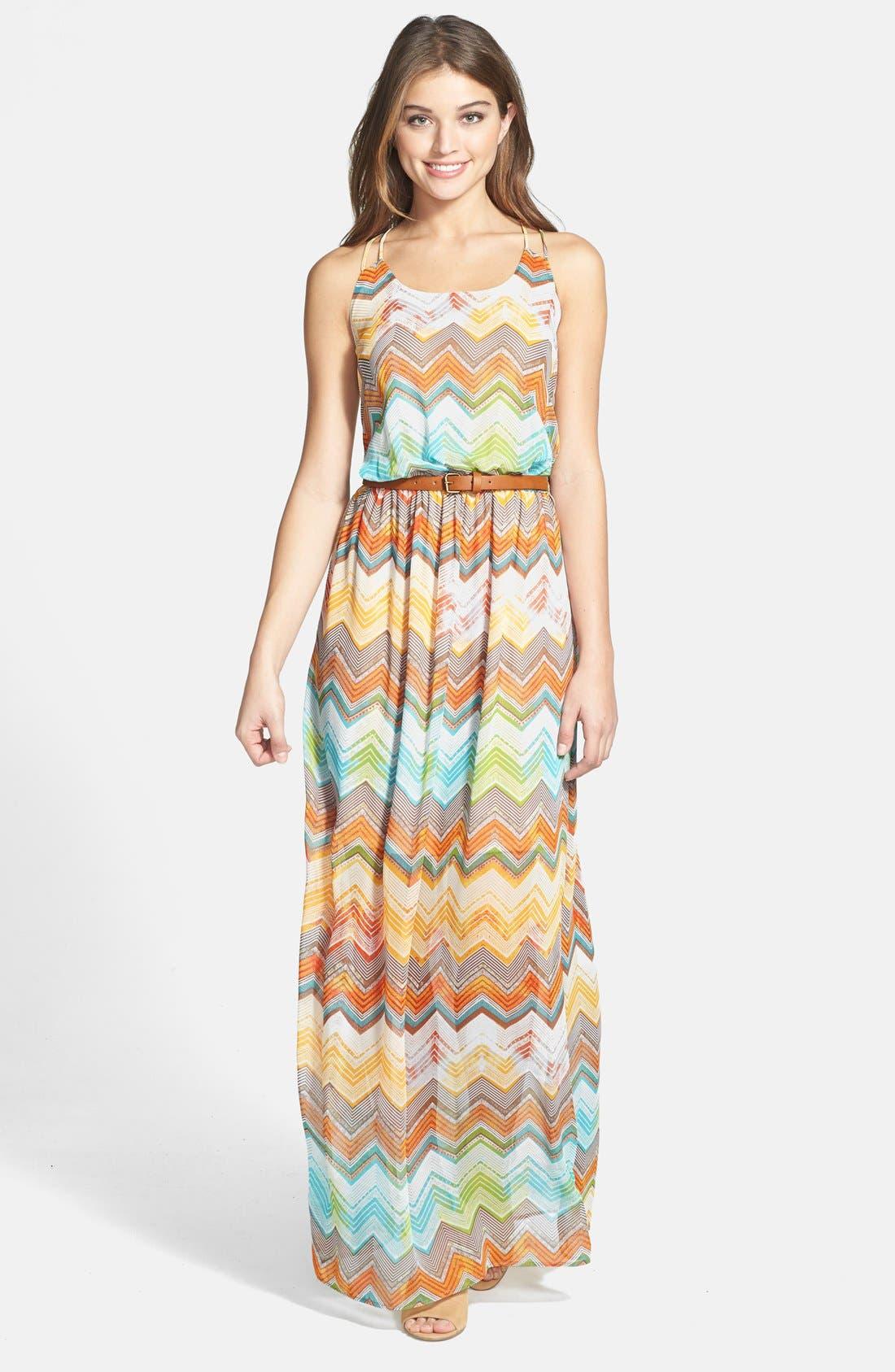 Main Image - KUT from the Kloth 'Jackie' Zigzag Stripe Sleeveless Maxi Dress