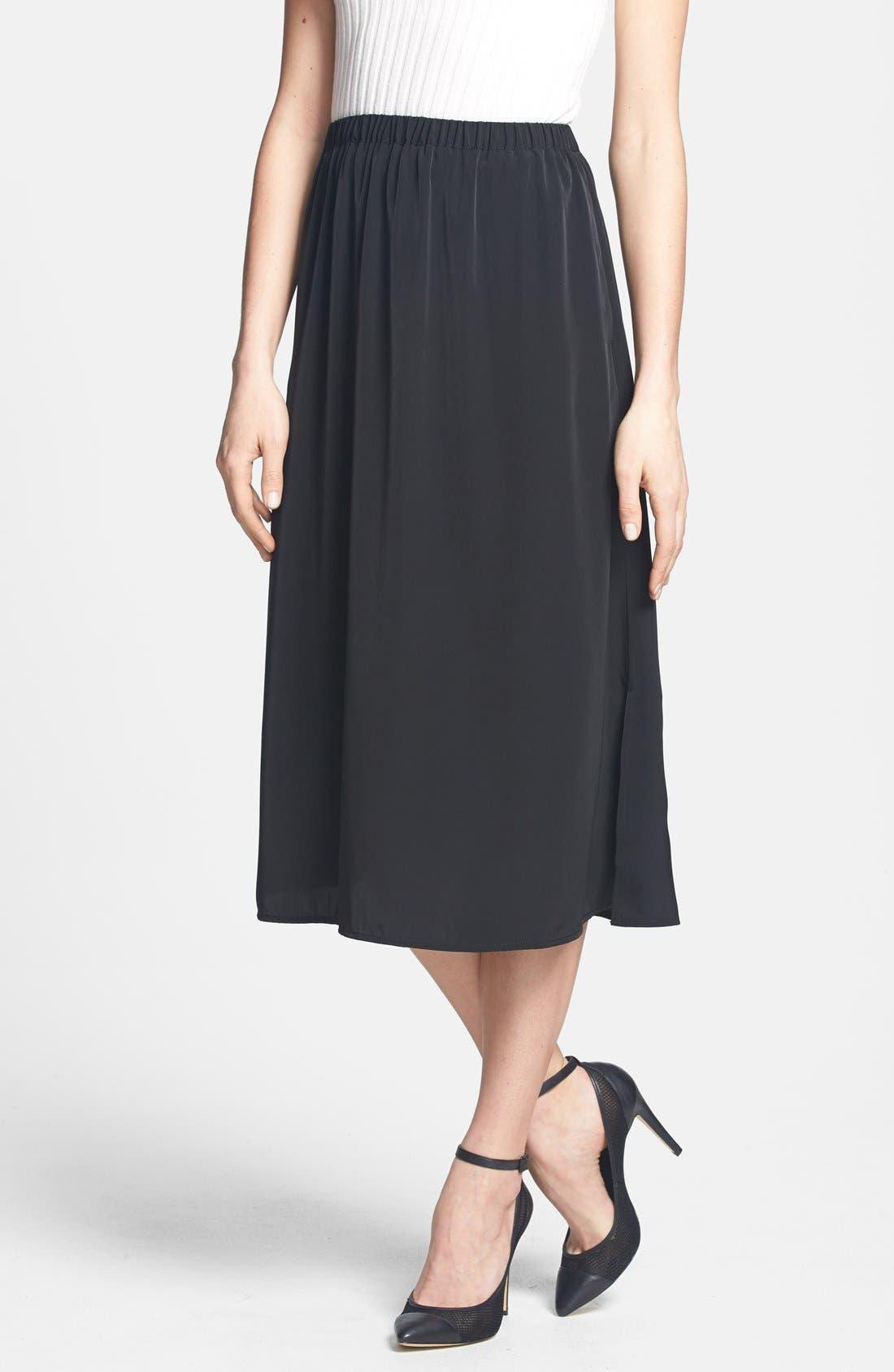 Main Image - Leith Side Slit Woven Midi Skirt