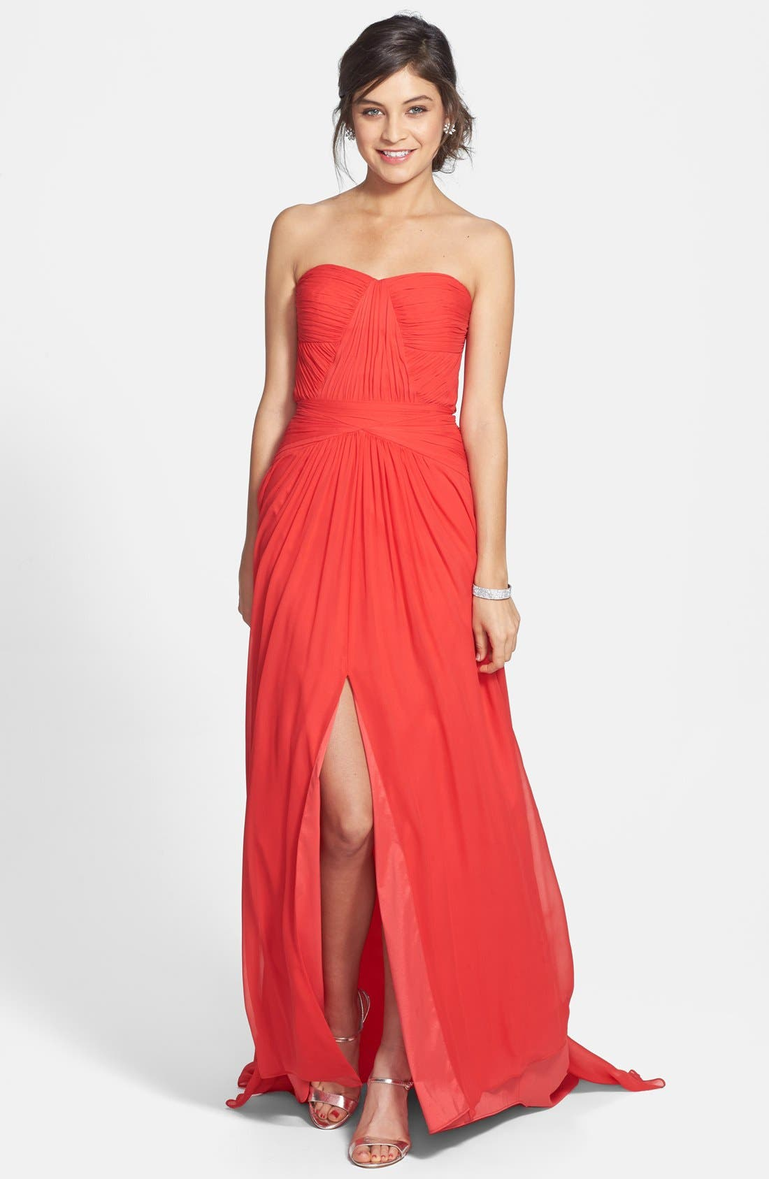 Strapless Chiffon Gown,                             Main thumbnail 1, color,                             Tangerine