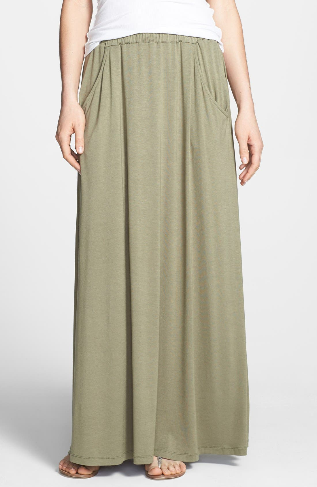 Alternate Image 1 Selected - Pleione Pocket Knit Maxi Skirt