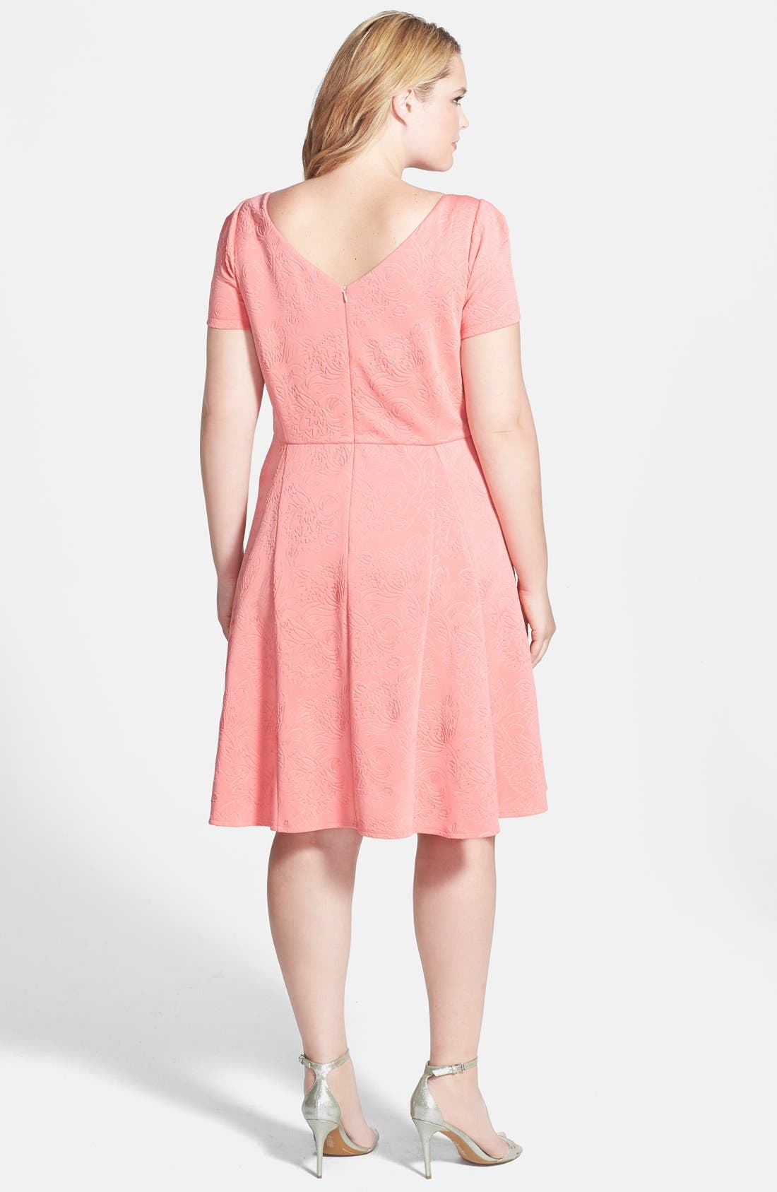 Alternate Image 2  - ABS by Allen Schwartz Embossed Floral Fit & Flare Dress (Plus Size)