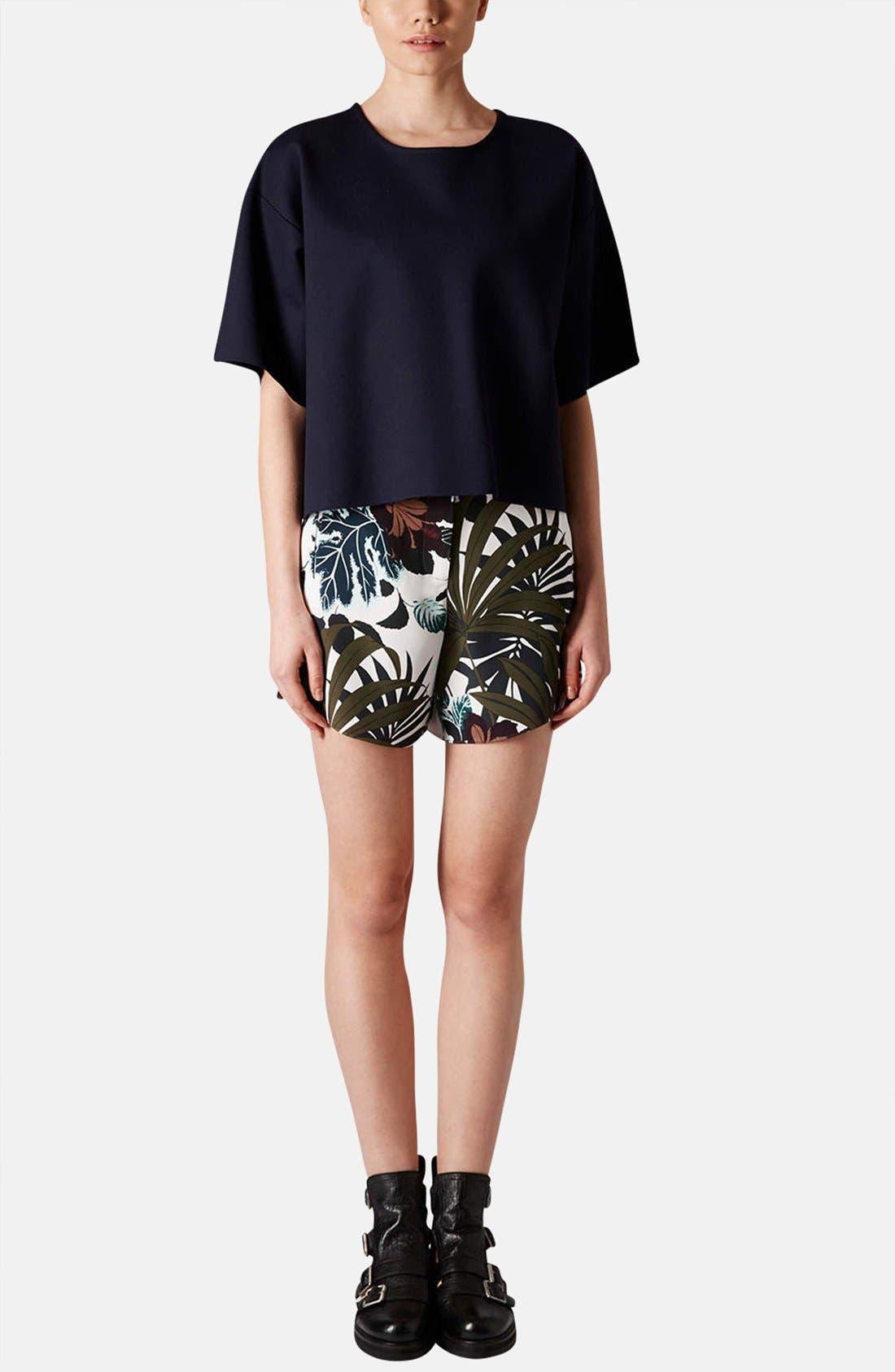 Alternate Image 5  - Topshop Jungle Print Silk Shorts